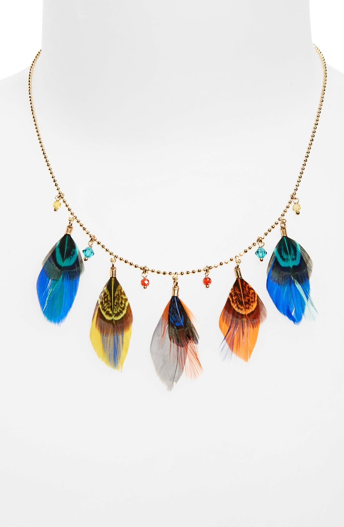 Feather Collar Necklace,                             Alternate thumbnail 4, color,