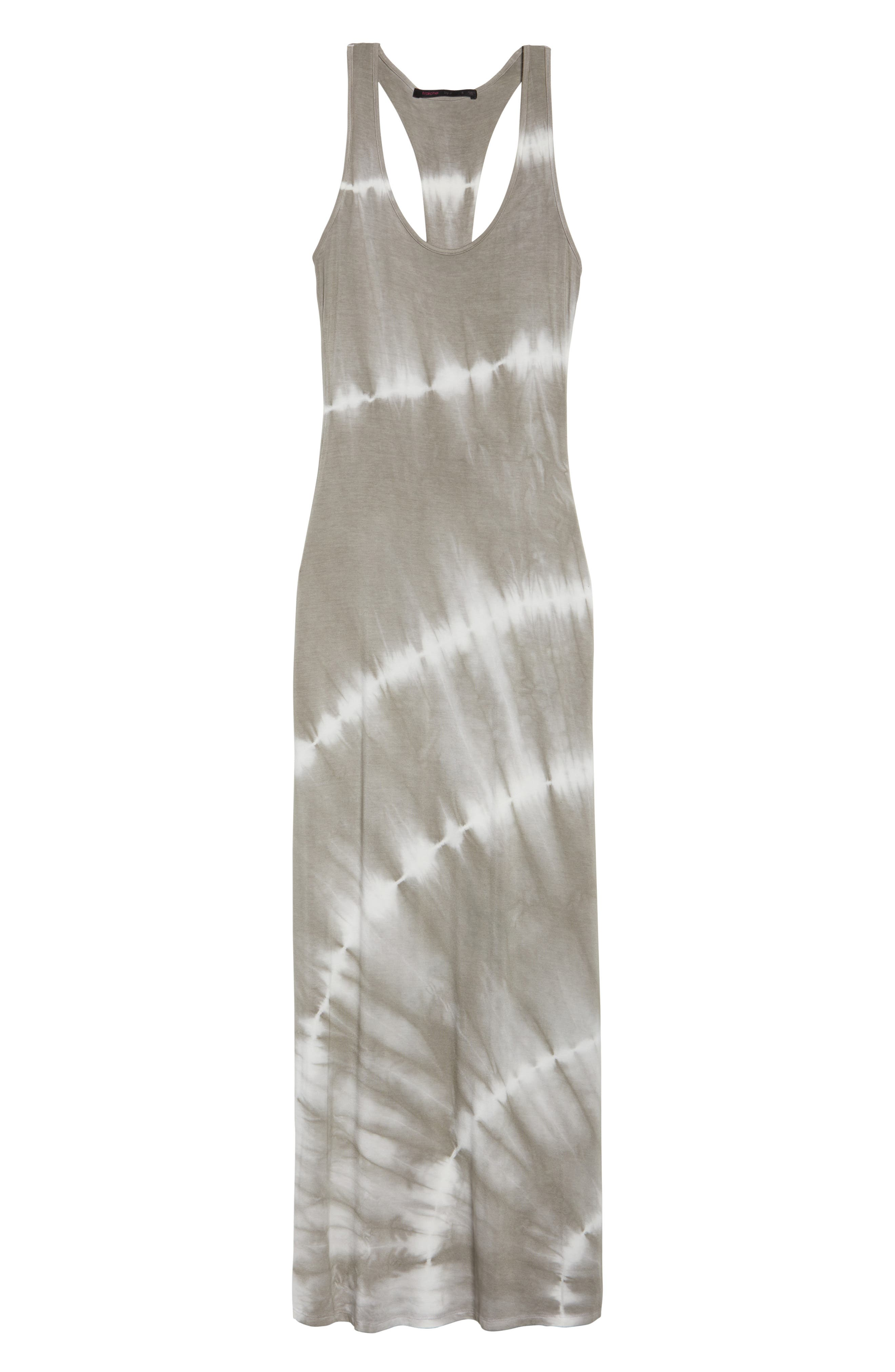 Tie Dye Racerback Maxi Dress,                             Alternate thumbnail 7, color,                             GREY/ WHITE