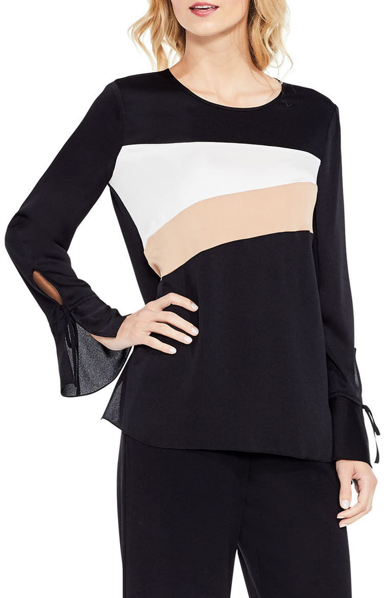 Bell Sleeve Colorblock Top,                             Main thumbnail 1, color,                             108