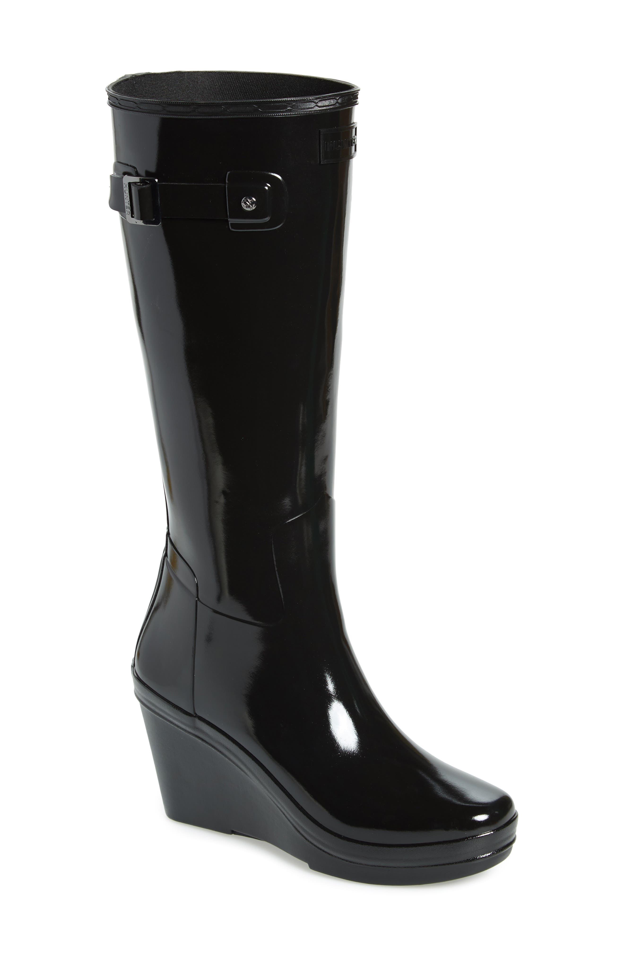 Refined Knee High Waterproof Rain Boot,                             Main thumbnail 1, color,                             BLACK