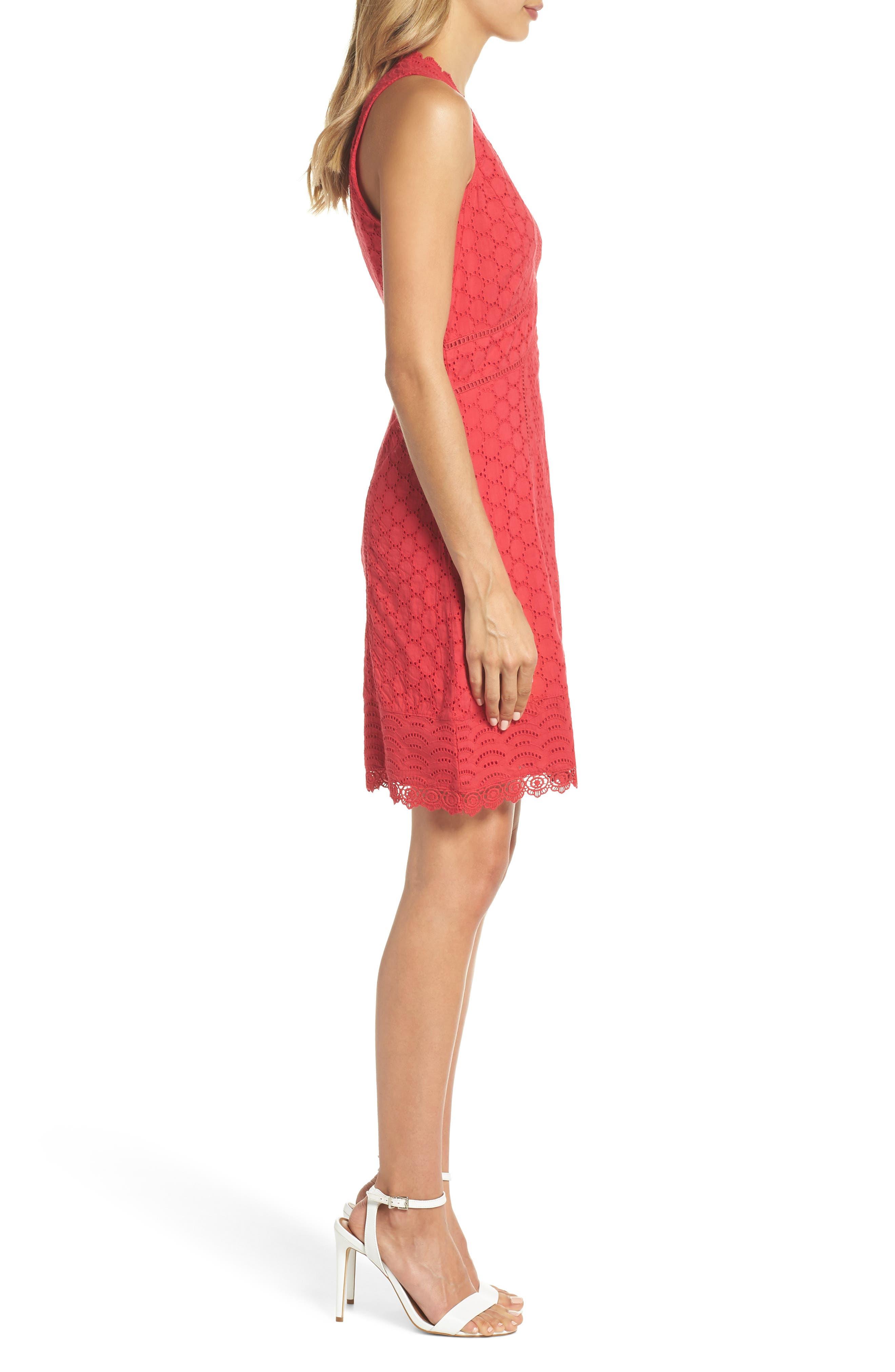 Zahara Eyelet & Lace A-Line Dress,                             Alternate thumbnail 3, color,                             WATERMELON