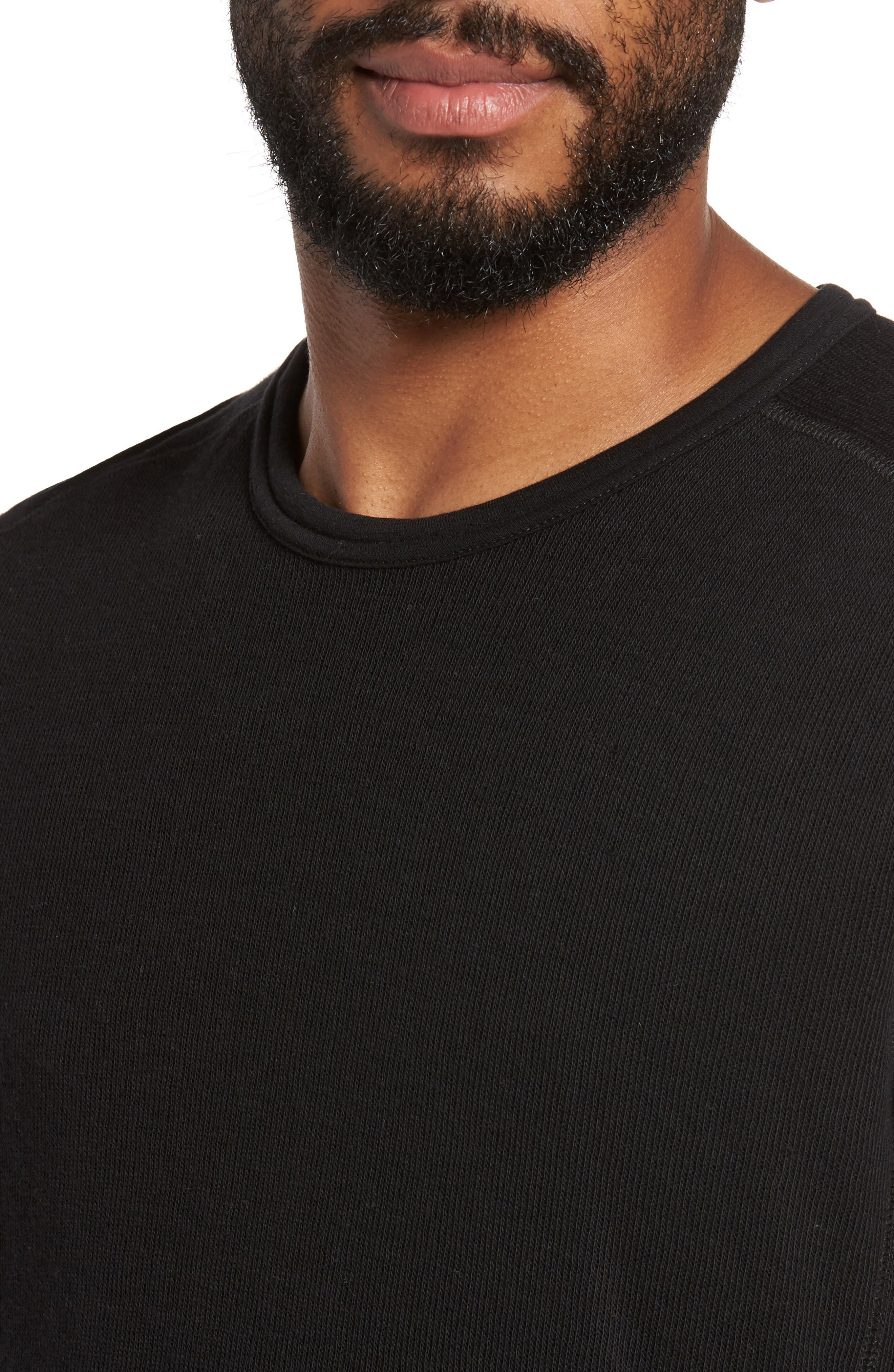 Double Knit Long Sleeve T-Shirt,                             Alternate thumbnail 4, color,                             BLACK