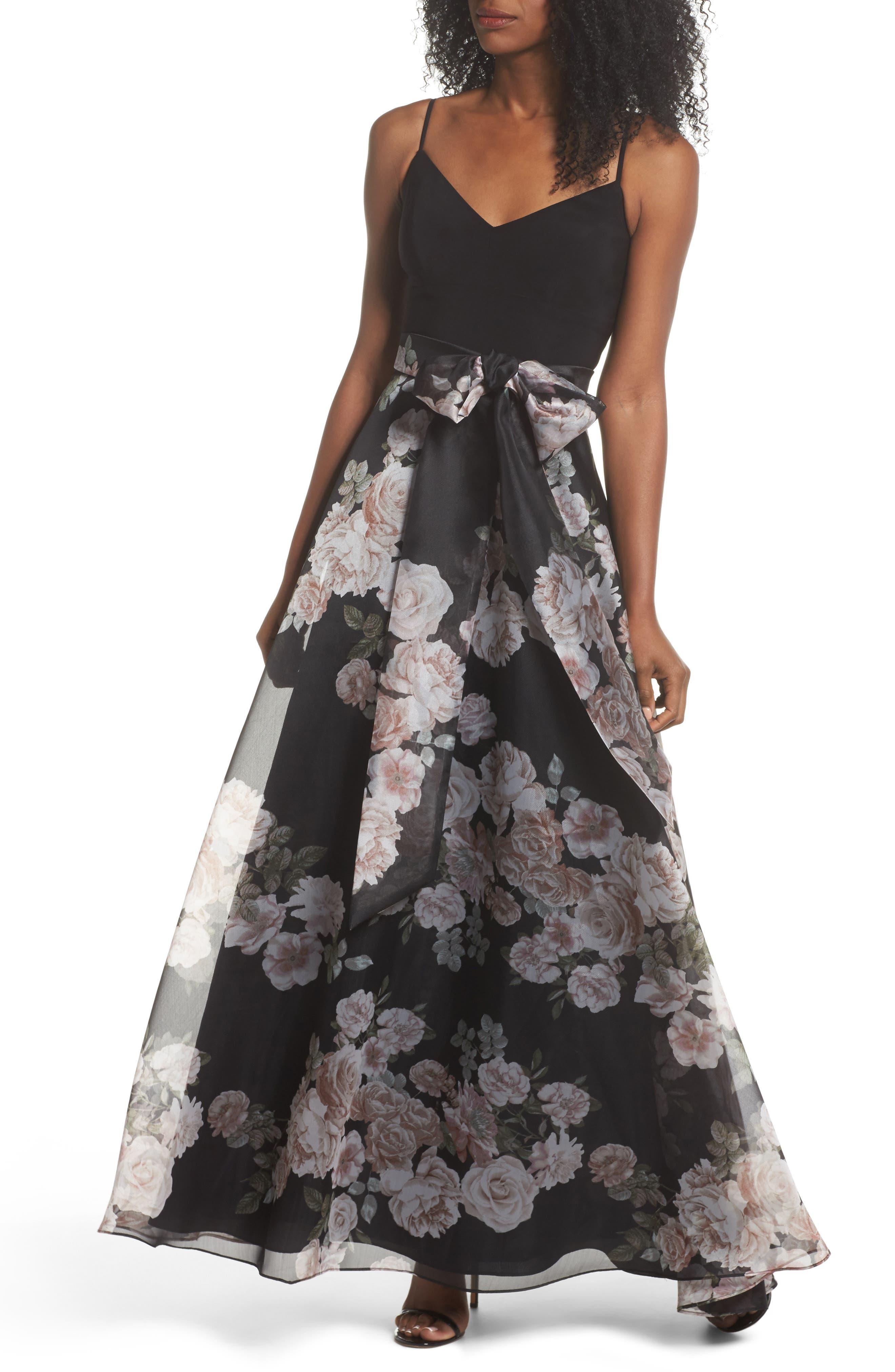 Knit & Print Organza Ballgown,                         Main,                         color, BLACK/BLUSH