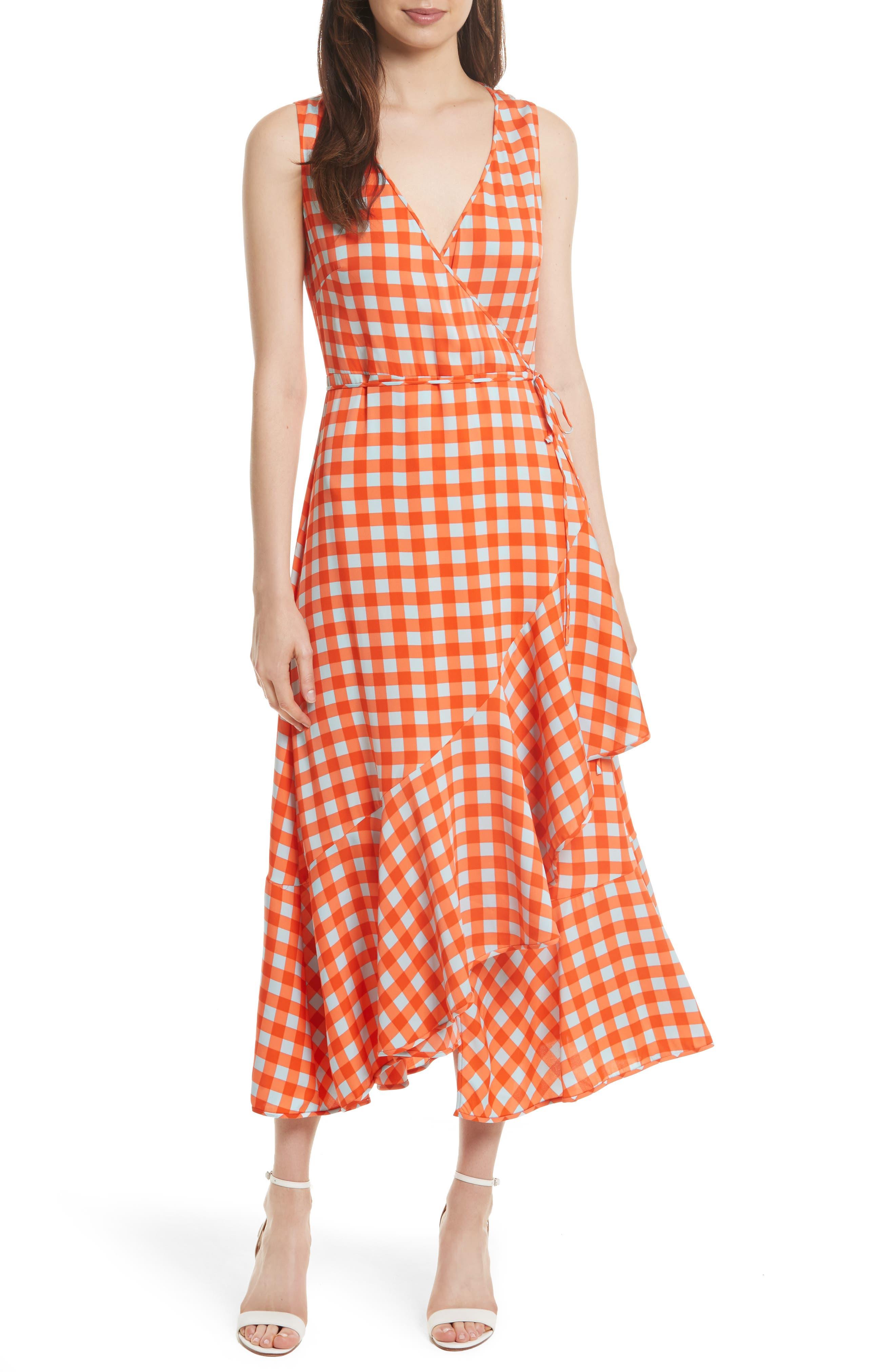 Check Ruffle Hem Wrap Dress,                             Alternate thumbnail 5, color,