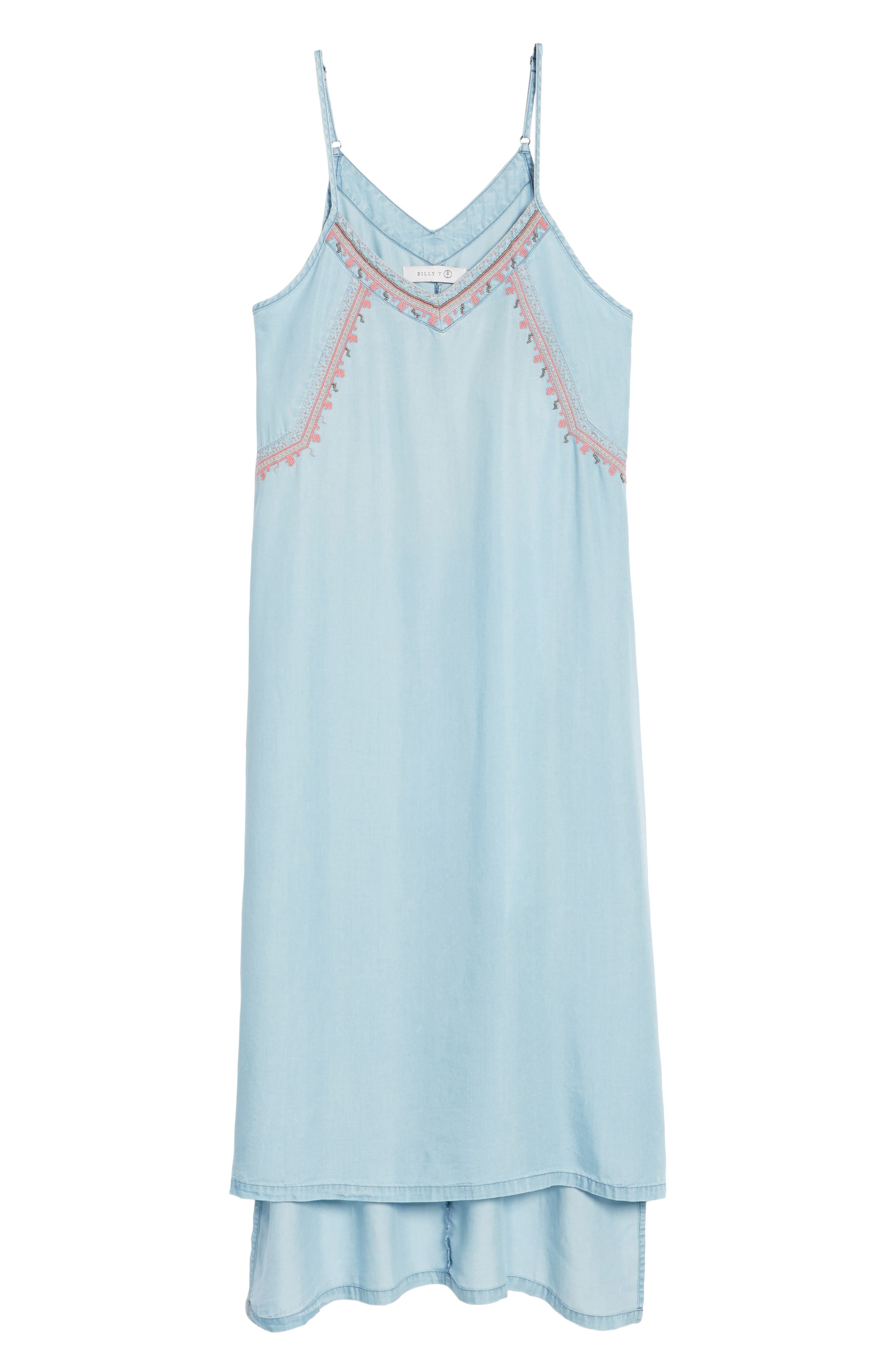 Embellished High/Low Chambray Slipdress,                             Alternate thumbnail 6, color,                             400