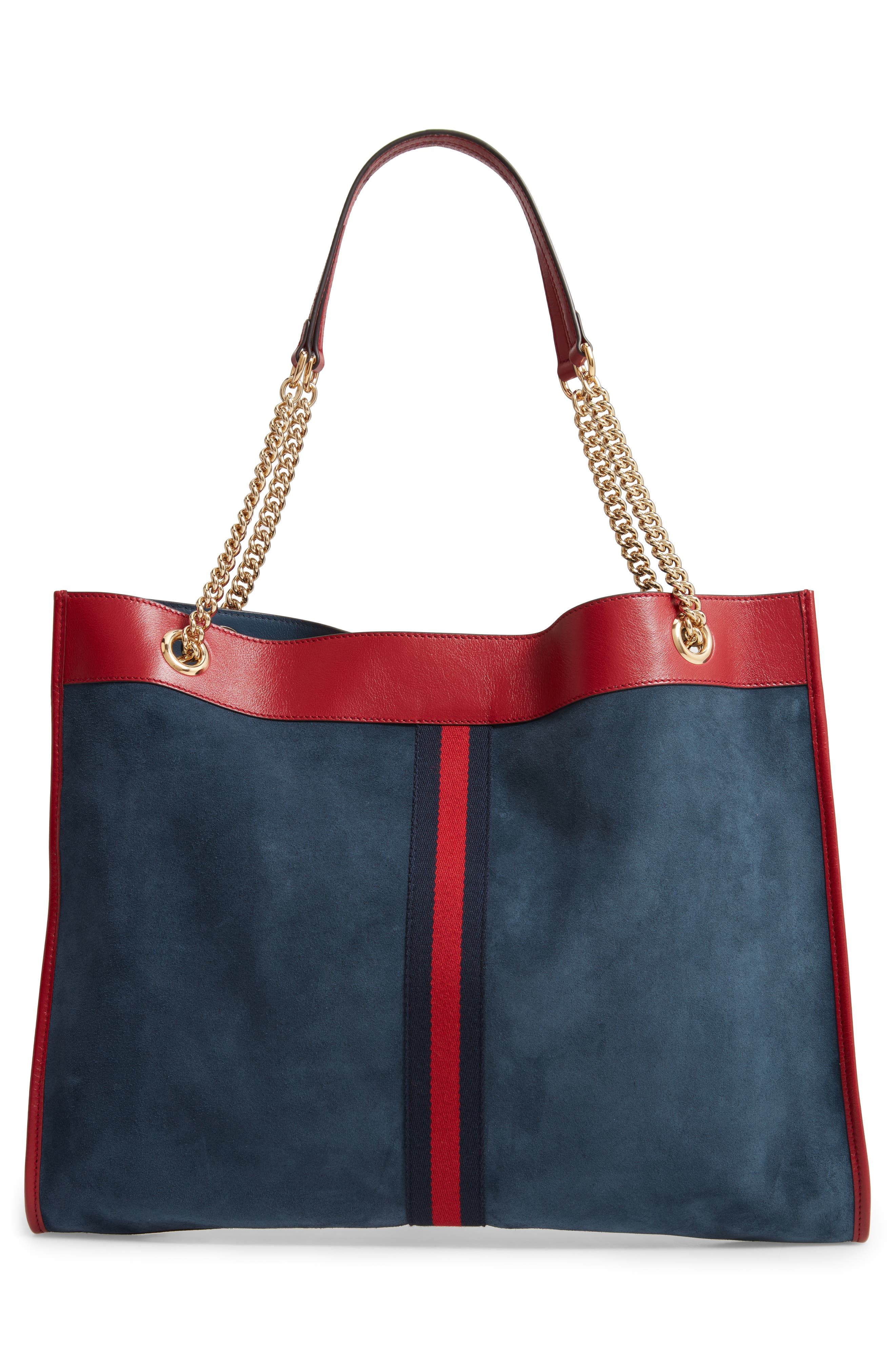 Linea Tiger NY Yankees Suede & Leather Tote,                             Alternate thumbnail 3, color,                             NEW BLUE/ CERISE/ BLUE RED