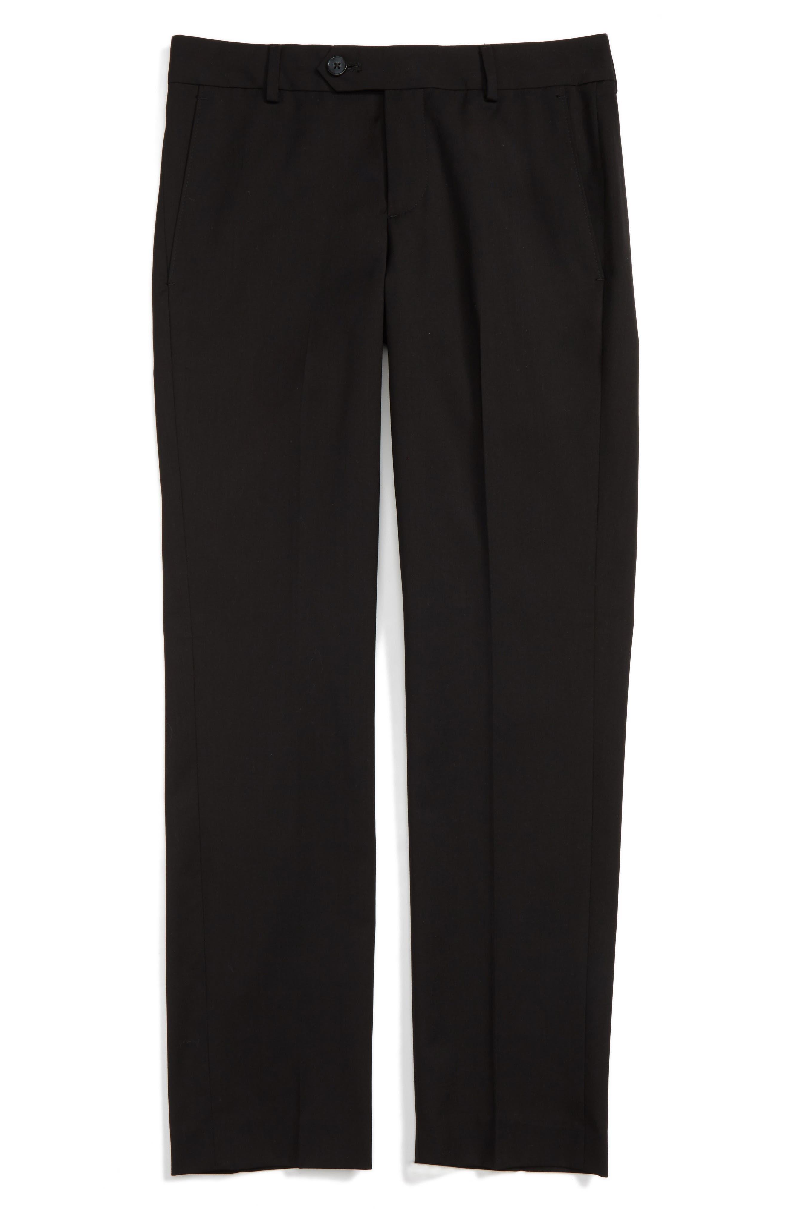 Elliott Slim Fit Flat Front Trousers,                             Main thumbnail 1, color,                             BLACK