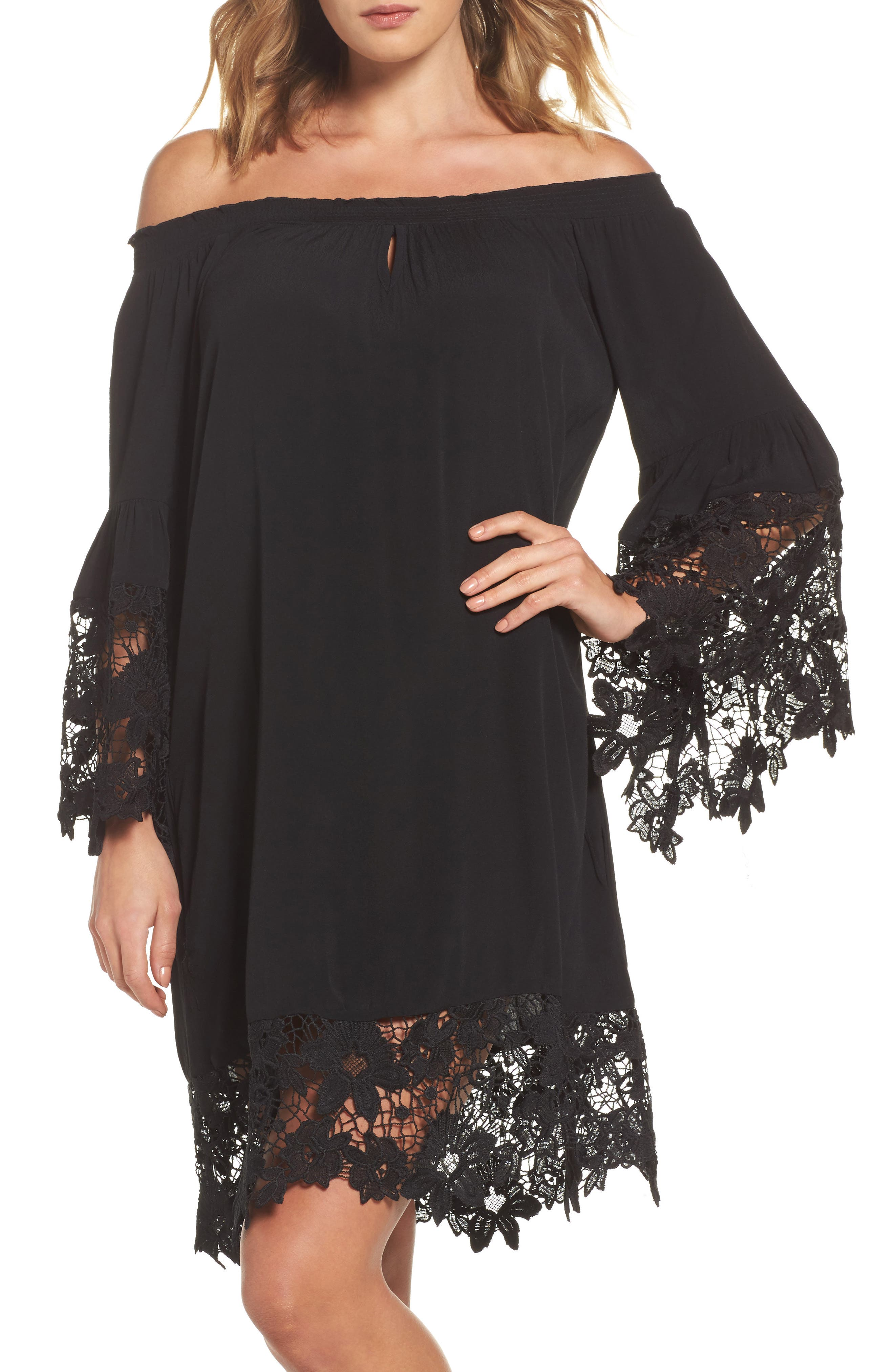 Jolie Lace Accent Cover-Up Dress,                         Main,                         color, 001