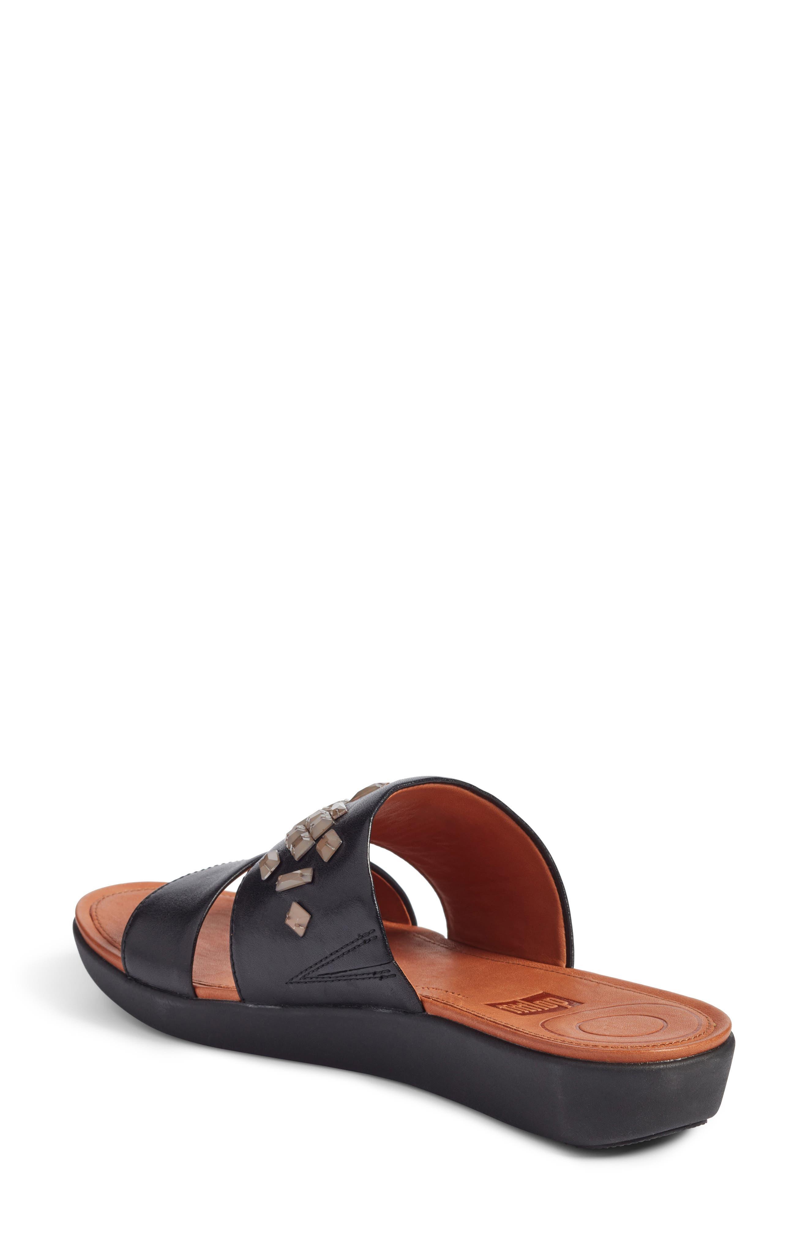 Delta Slide Sandal,                             Alternate thumbnail 2, color,                             BLACK LEATHER