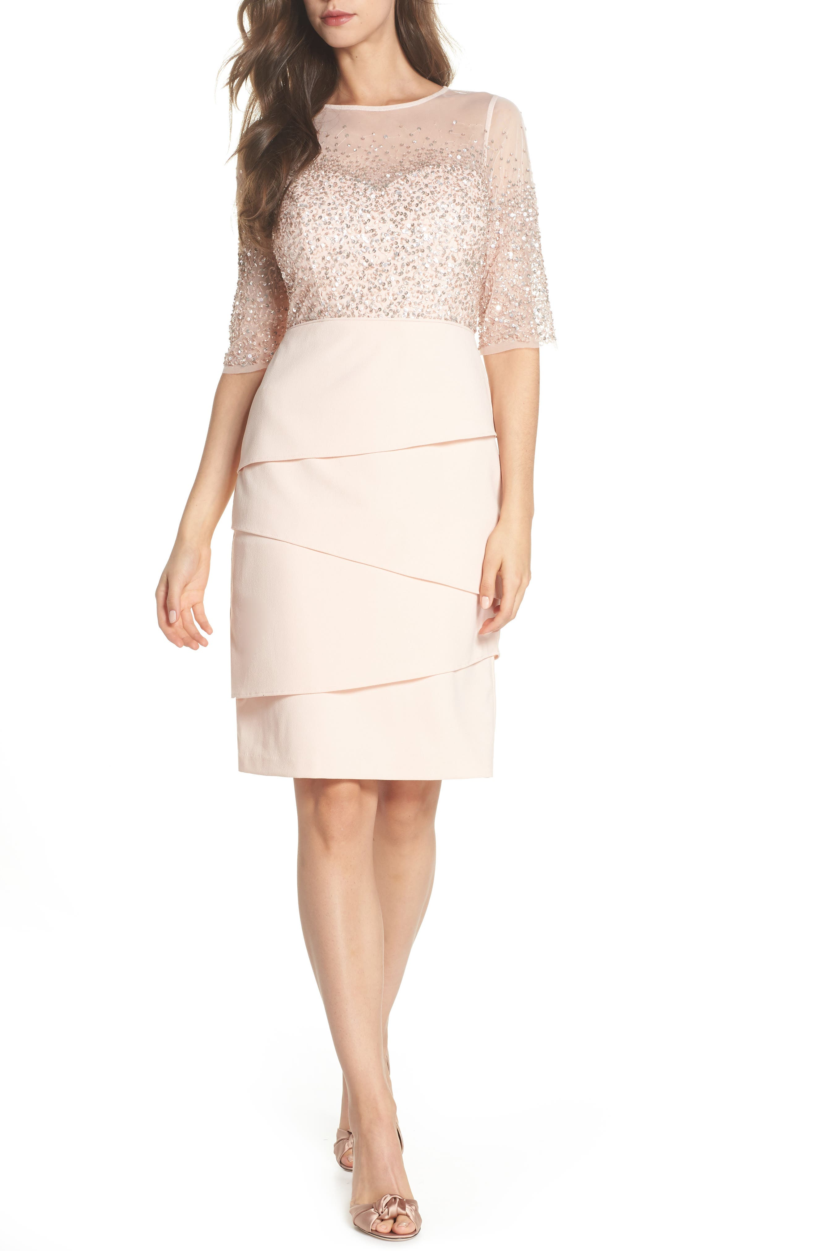 Beaded Illusion Tiered Sheath Dress,                         Main,                         color, BLUSH