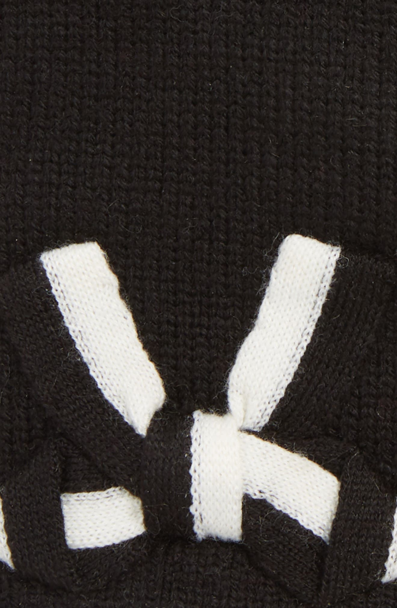 bow appliqué gloves,                             Alternate thumbnail 3, color,                             BLACK/ CREAM BOW