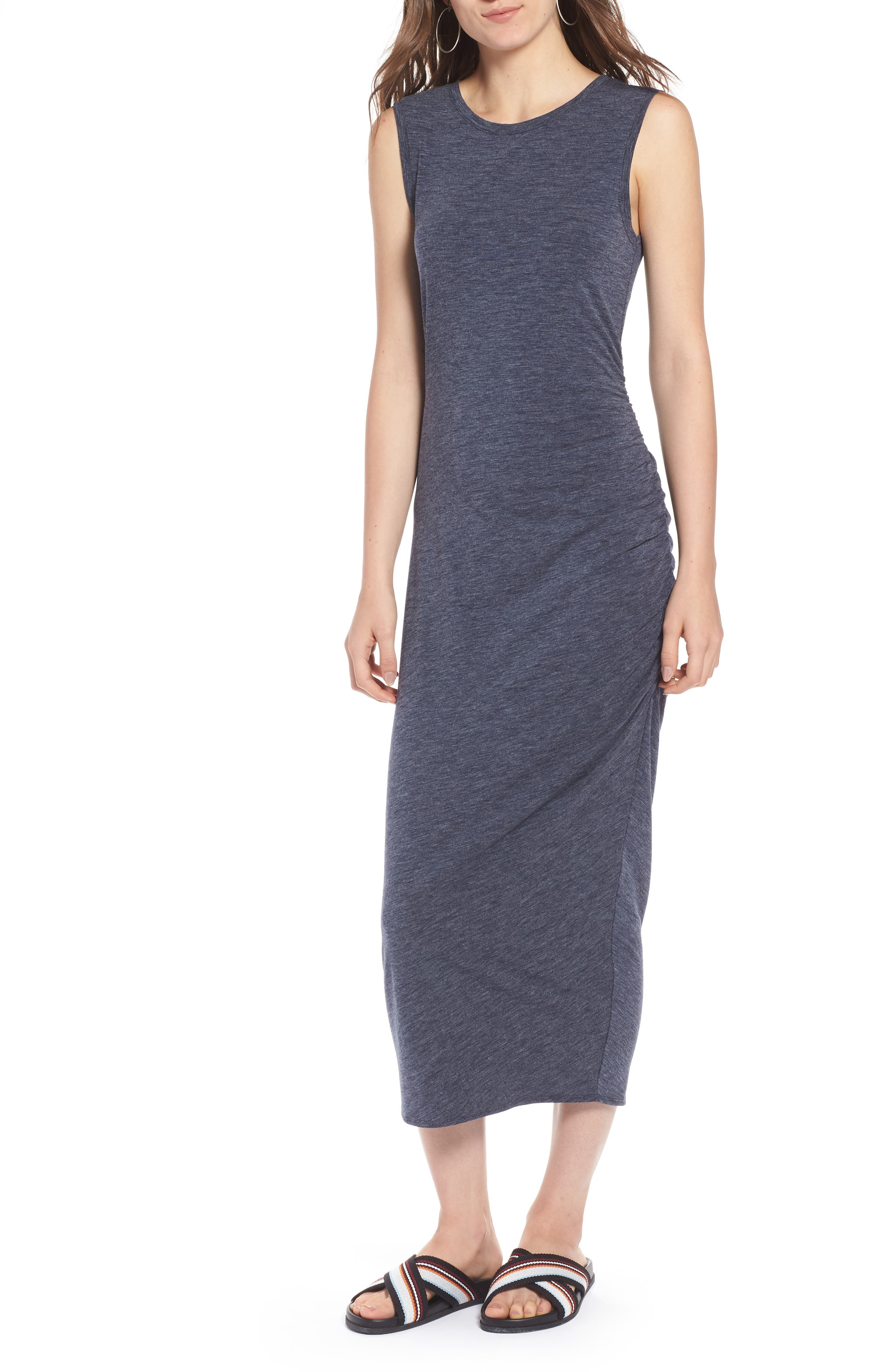 Sleeveless Side Ruched Dress,                             Main thumbnail 1, color,                             410