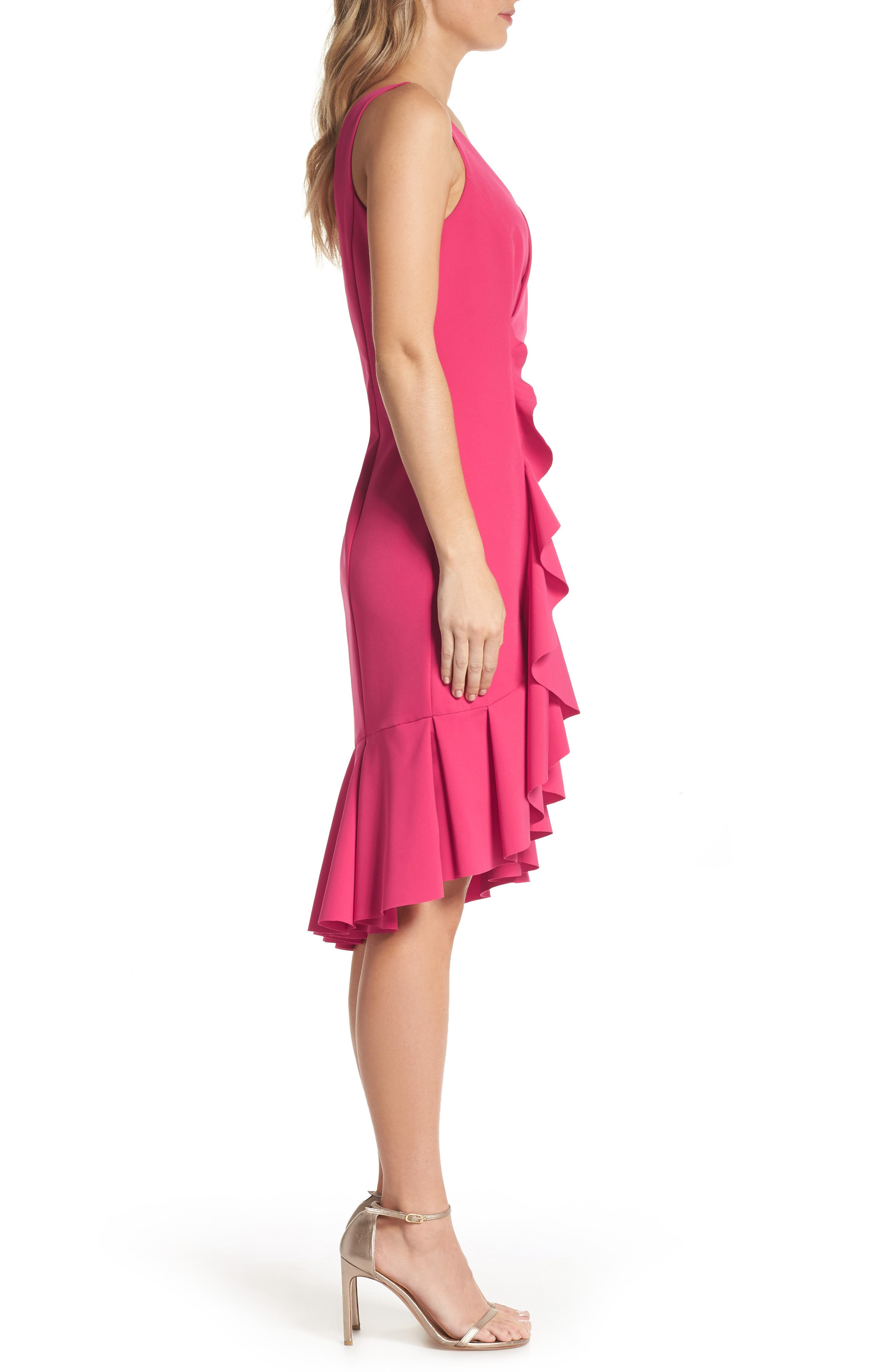 Laguna Ruffle Sheath Dress,                             Alternate thumbnail 3, color,                             660