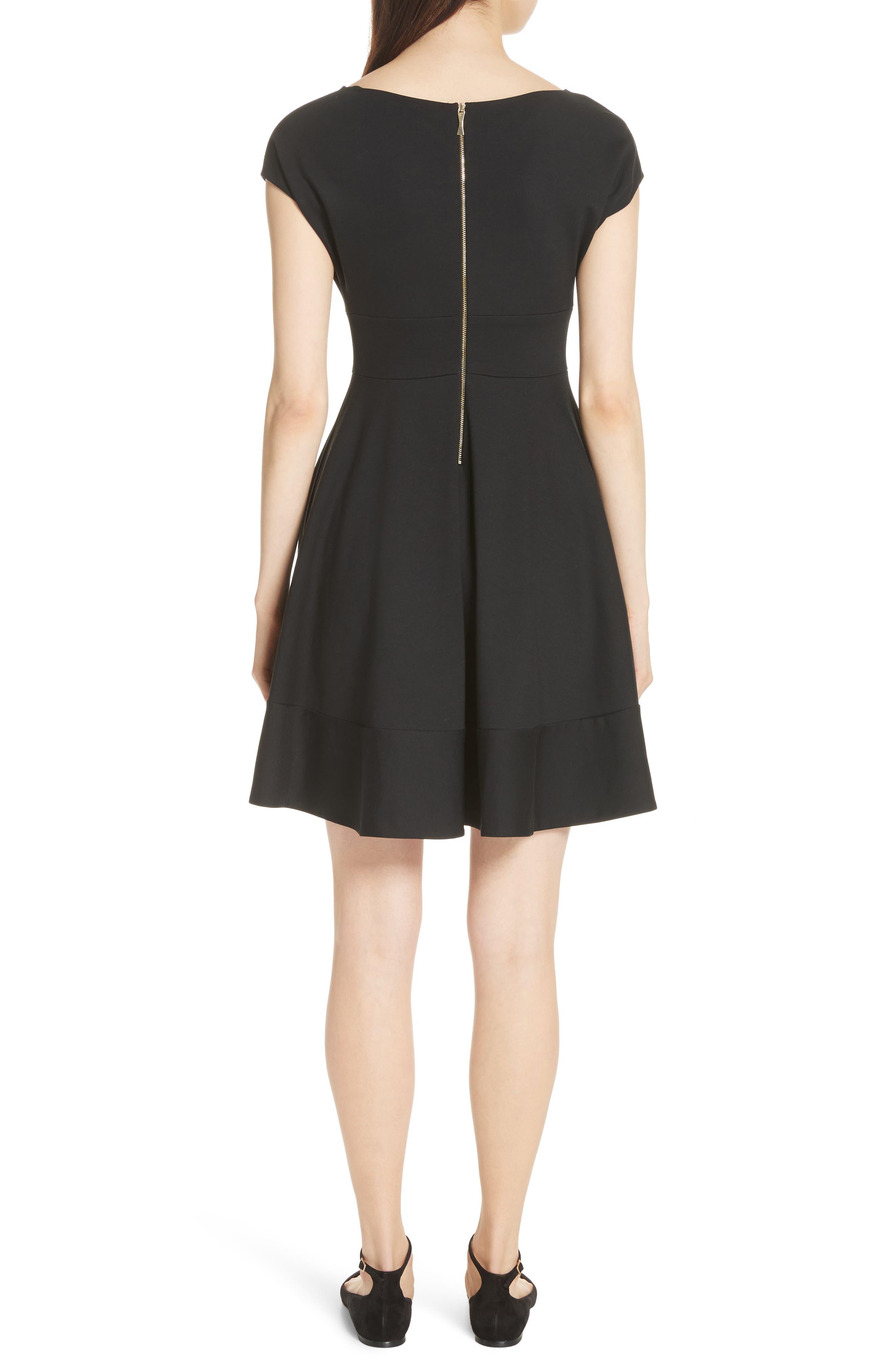 KATE SPADE NEW YORK,                             ponte fiorella fit & flare dress,                             Alternate thumbnail 2, color,                             BLACK