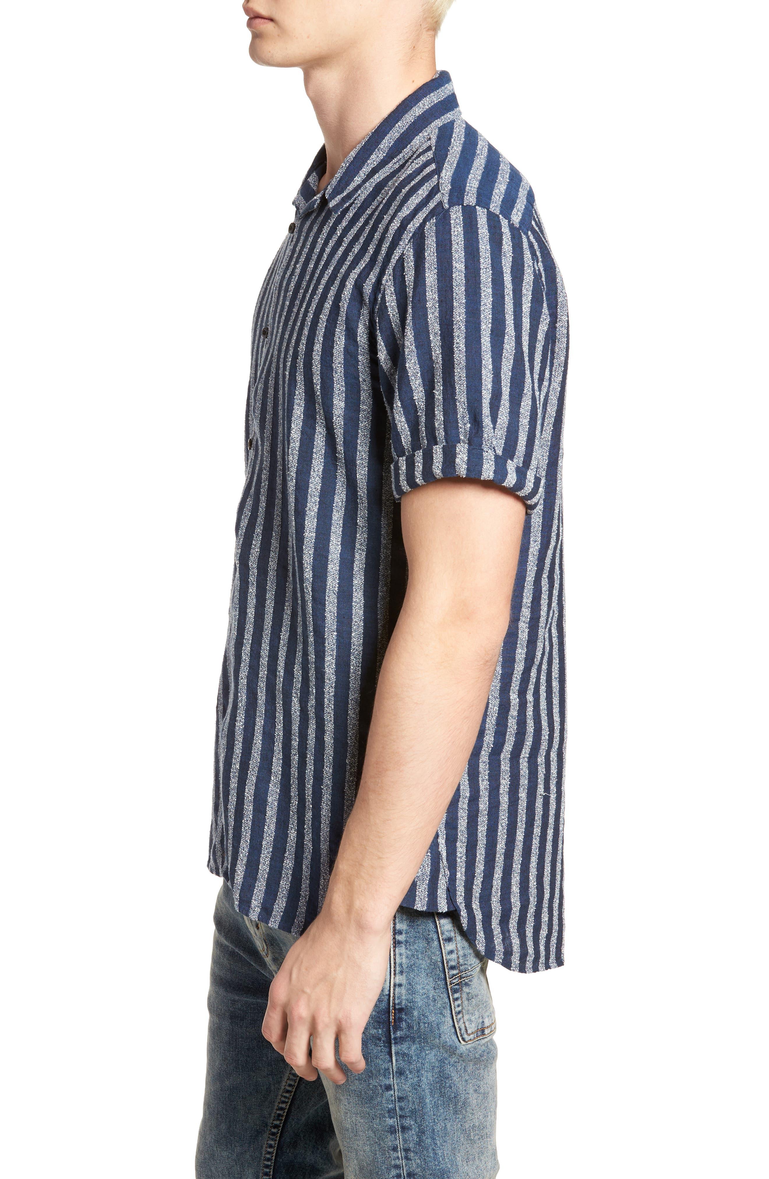 Stripe Woven Shirt,                             Alternate thumbnail 3, color,                             100
