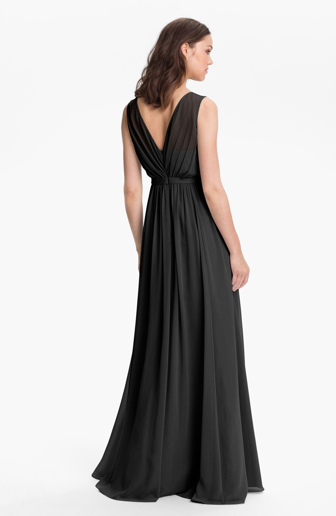 Vivienne Pleated Chiffon Gown,                             Alternate thumbnail 16, color,