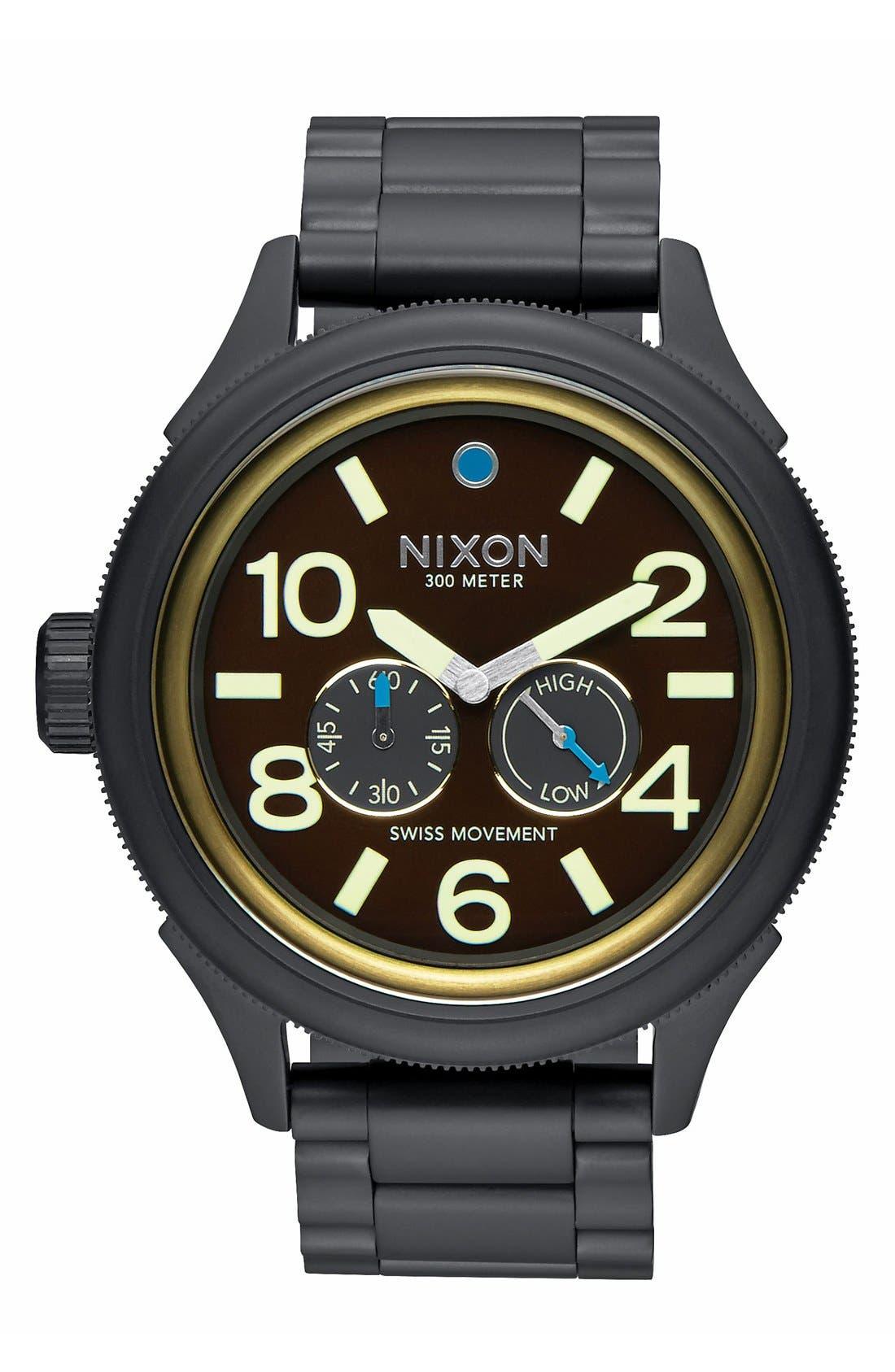 NIXON,                             'The October Tide' Multifunction Bracelet Watch, 49mm,                             Main thumbnail 1, color,                             001
