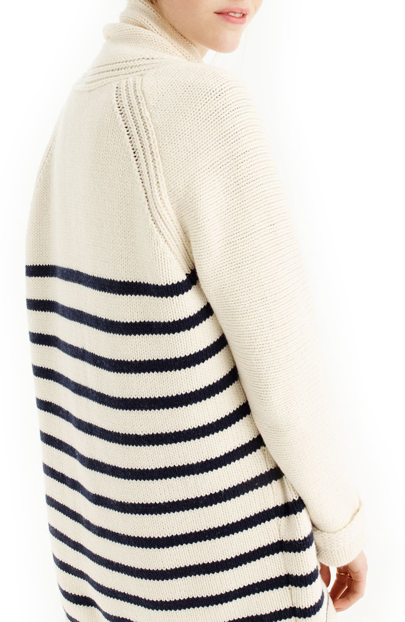 J.CREW,                             Stripe Long Open Cardigan,                             Alternate thumbnail 2, color,                             401