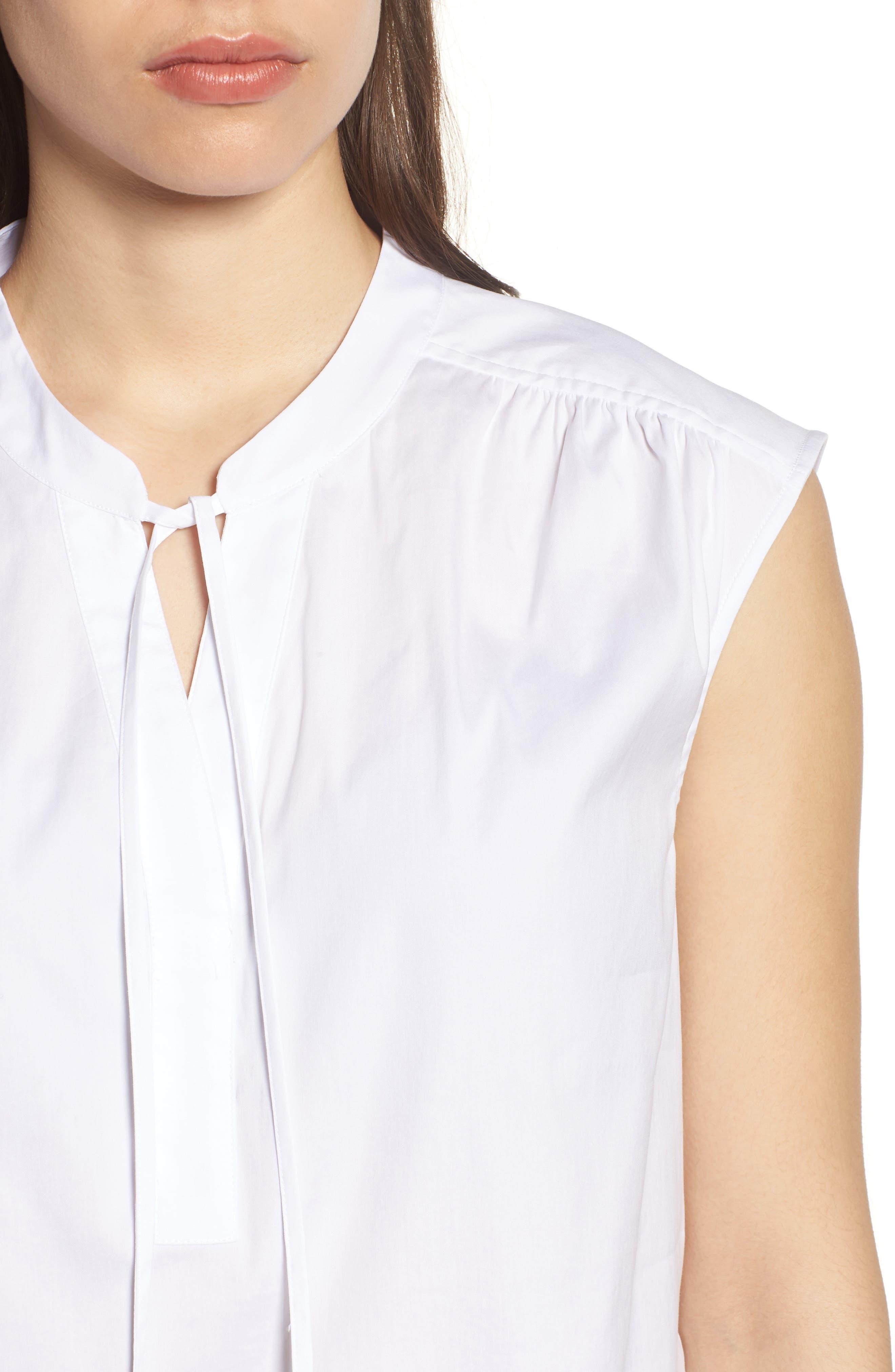 Sleeveles Tie Neck Stretch Cotton Poplin Blouse,                             Alternate thumbnail 4, color,                             100