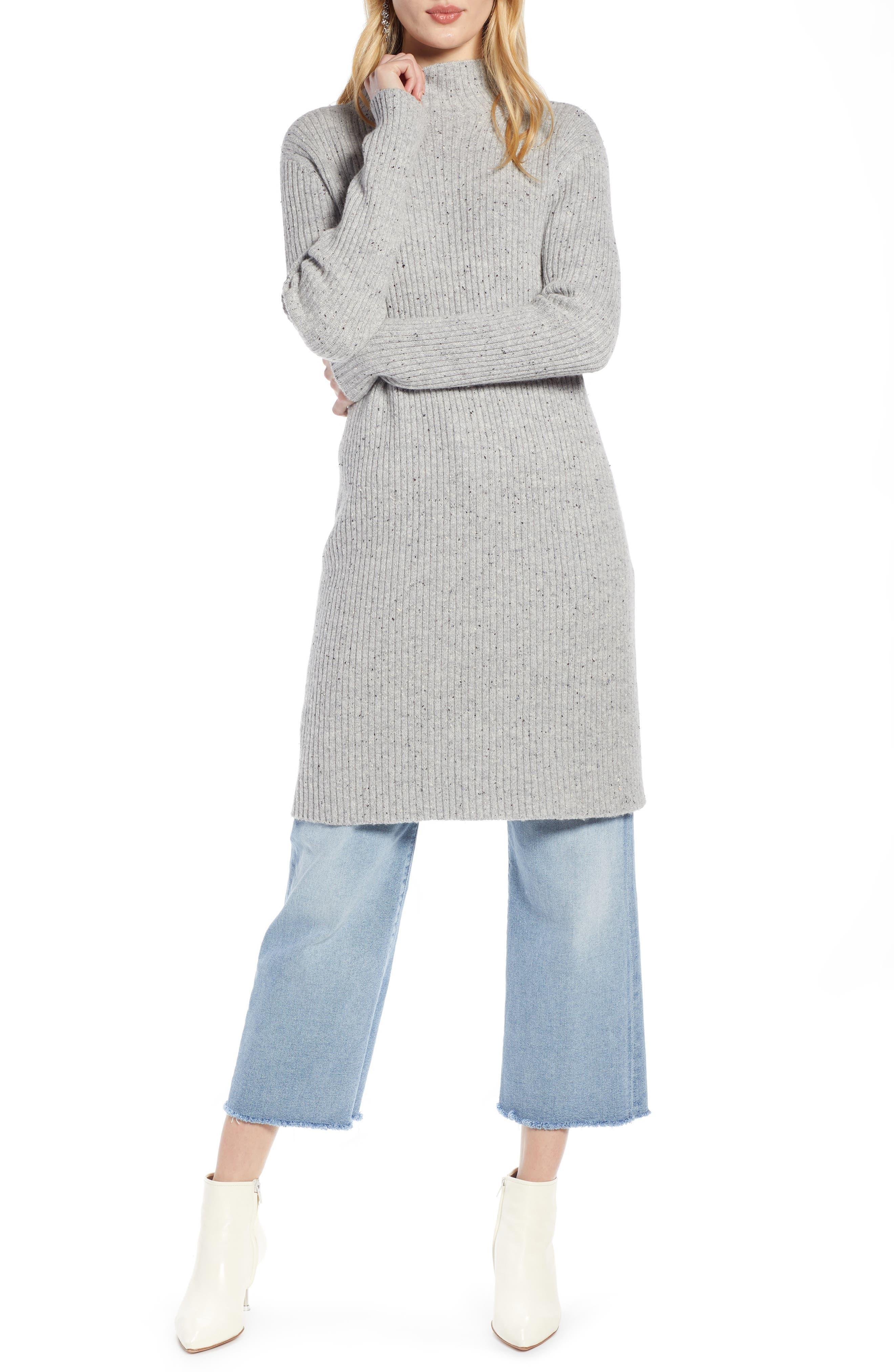 Halogen Funnel Neck Sweater Dress, Grey