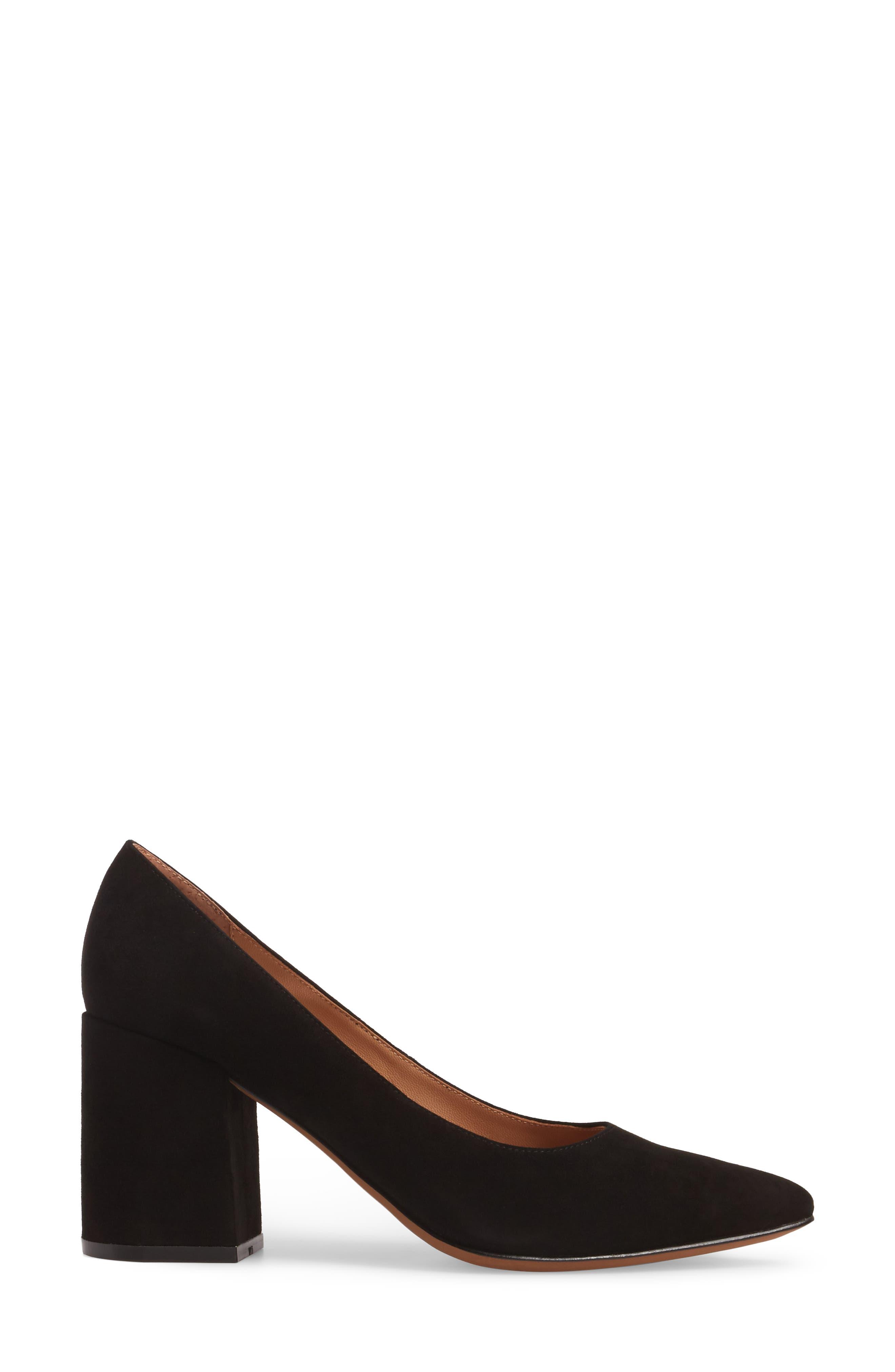 Blair Block Heel Pump,                             Alternate thumbnail 3, color,                             BLACK SUEDE