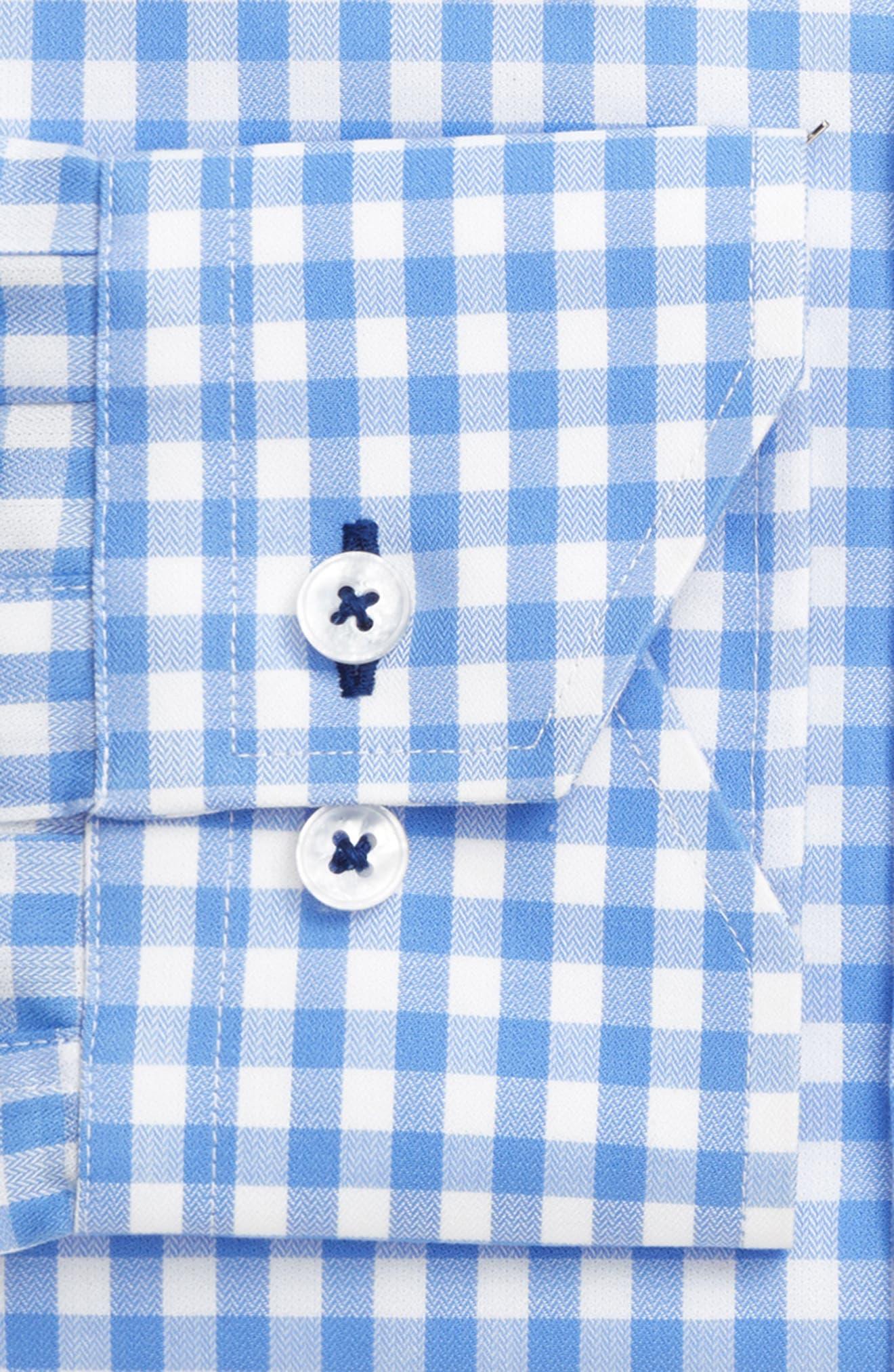 Trim Fit Gingham Dress Shirt,                             Alternate thumbnail 4, color,                             LIGHT BLUE