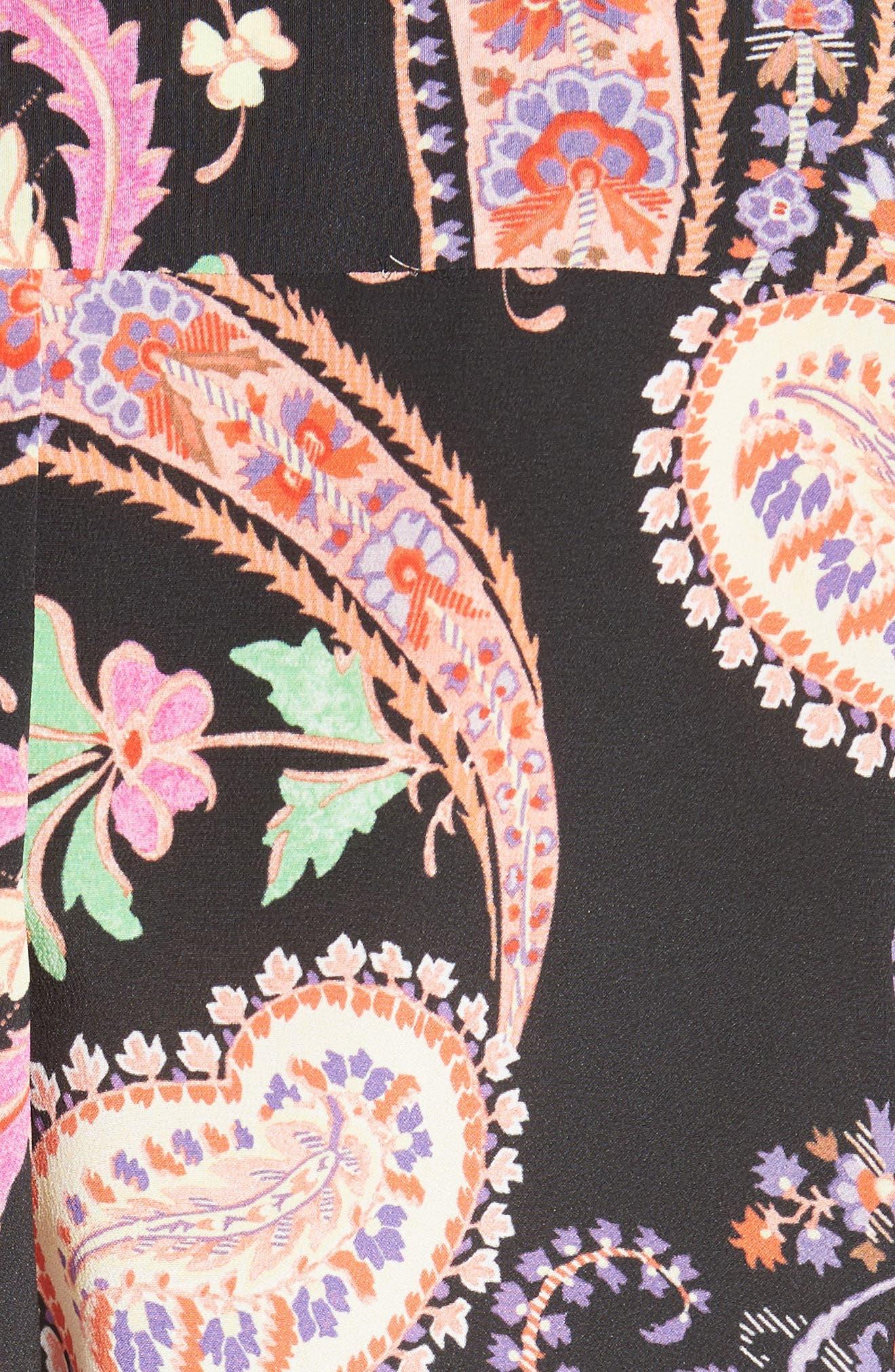Floral Paisley Print Silk Tunic,                             Alternate thumbnail 5, color,