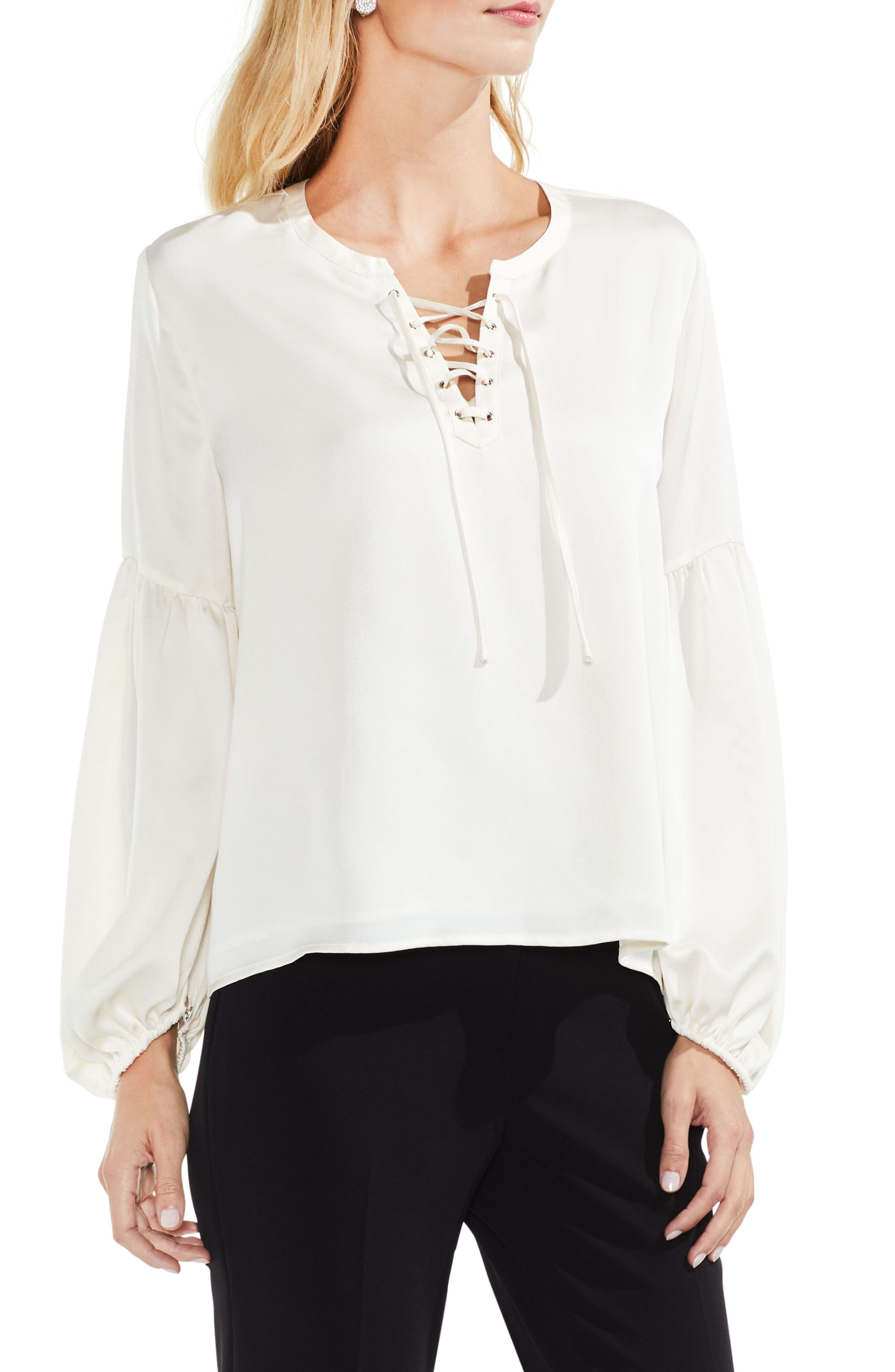 Lace-Up Hammered Satin Blouse,                         Main,                         color, 108