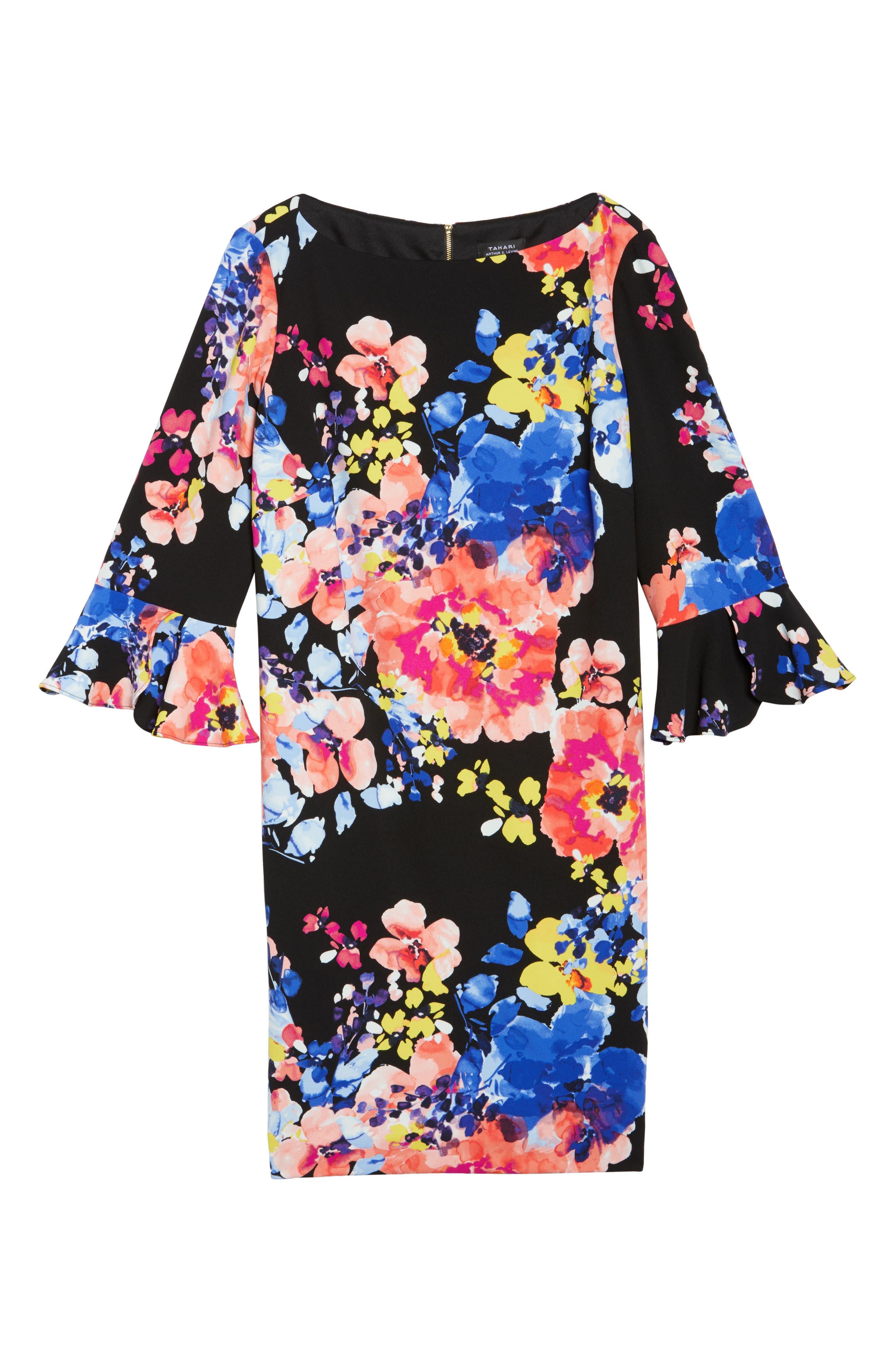 Print Ruffle Sleeve Shift Dress,                             Alternate thumbnail 6, color,                             017