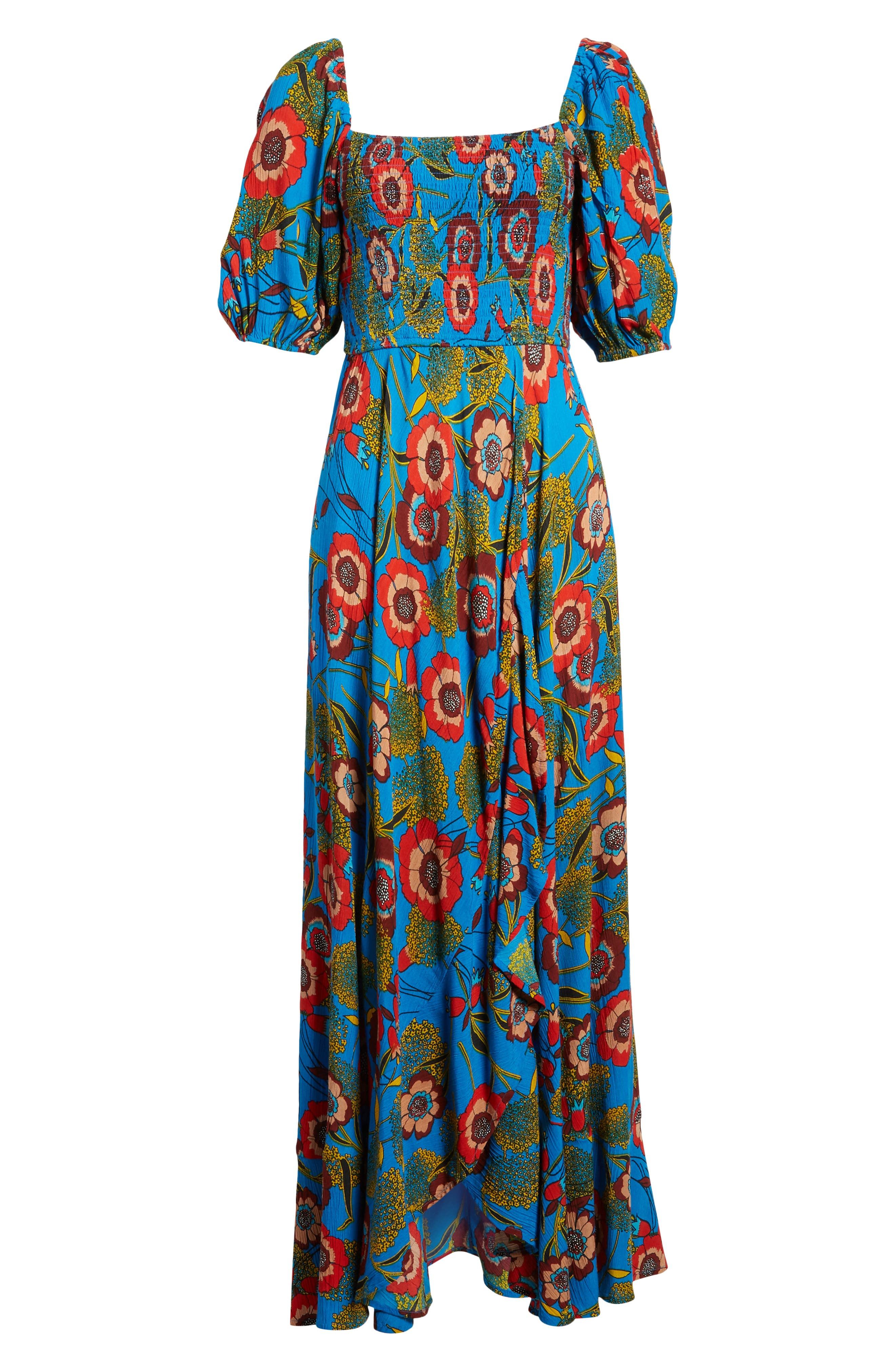 Heirloom Blossom Maxi Dress,                             Alternate thumbnail 7, color,                             ROYAL/ BLUE/ RED