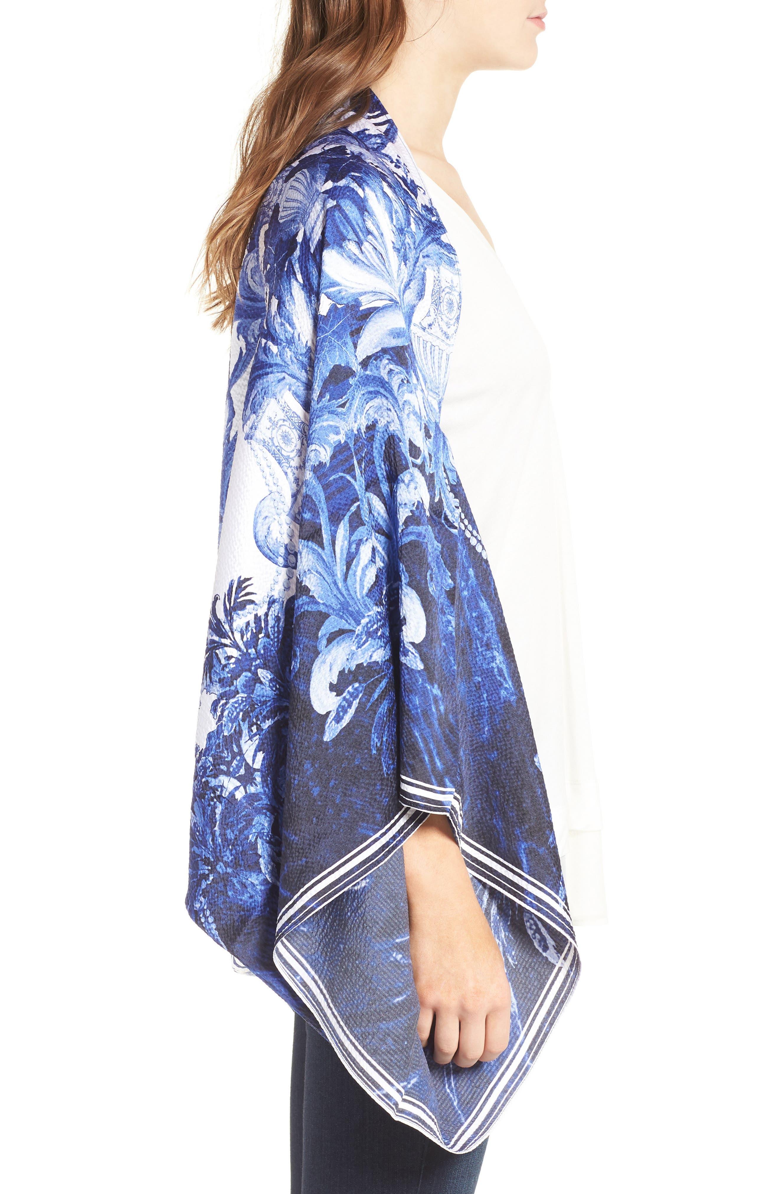 Persian Blue Silk Cape Scarf,                             Alternate thumbnail 3, color,                             410