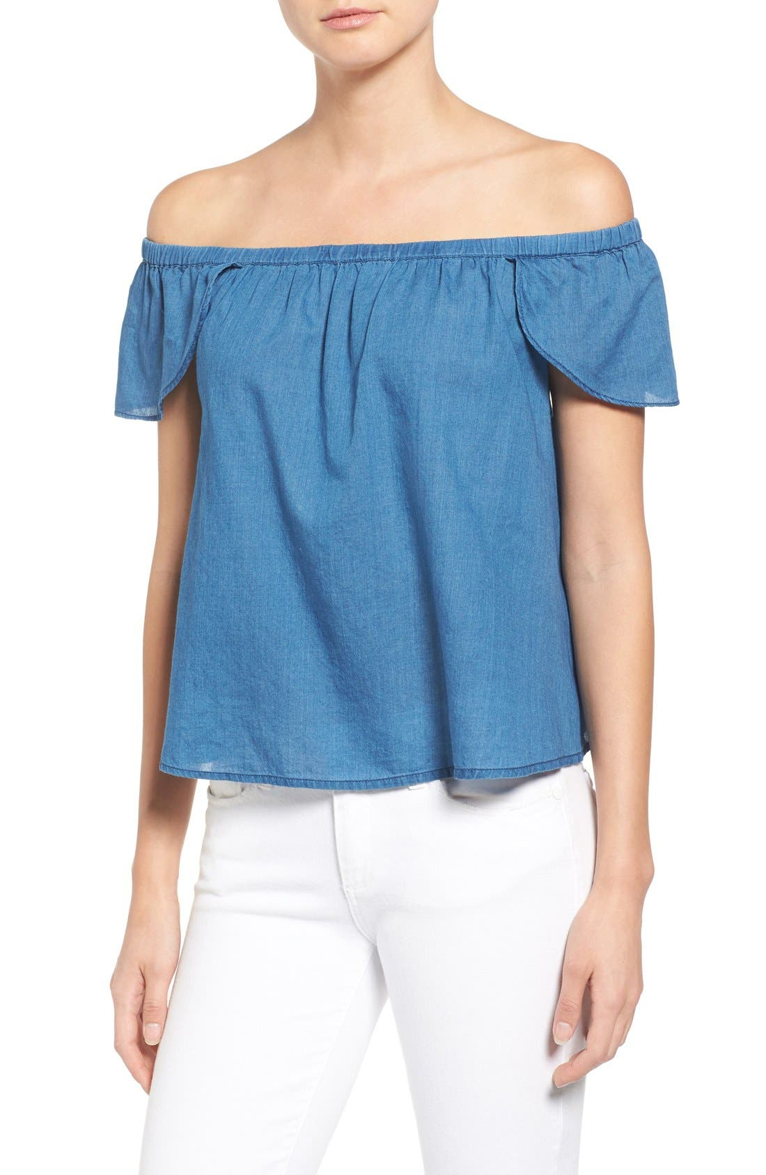 MADEWELL,                             Off the Shoulder Cotton Top,                             Main thumbnail 1, color,                             400