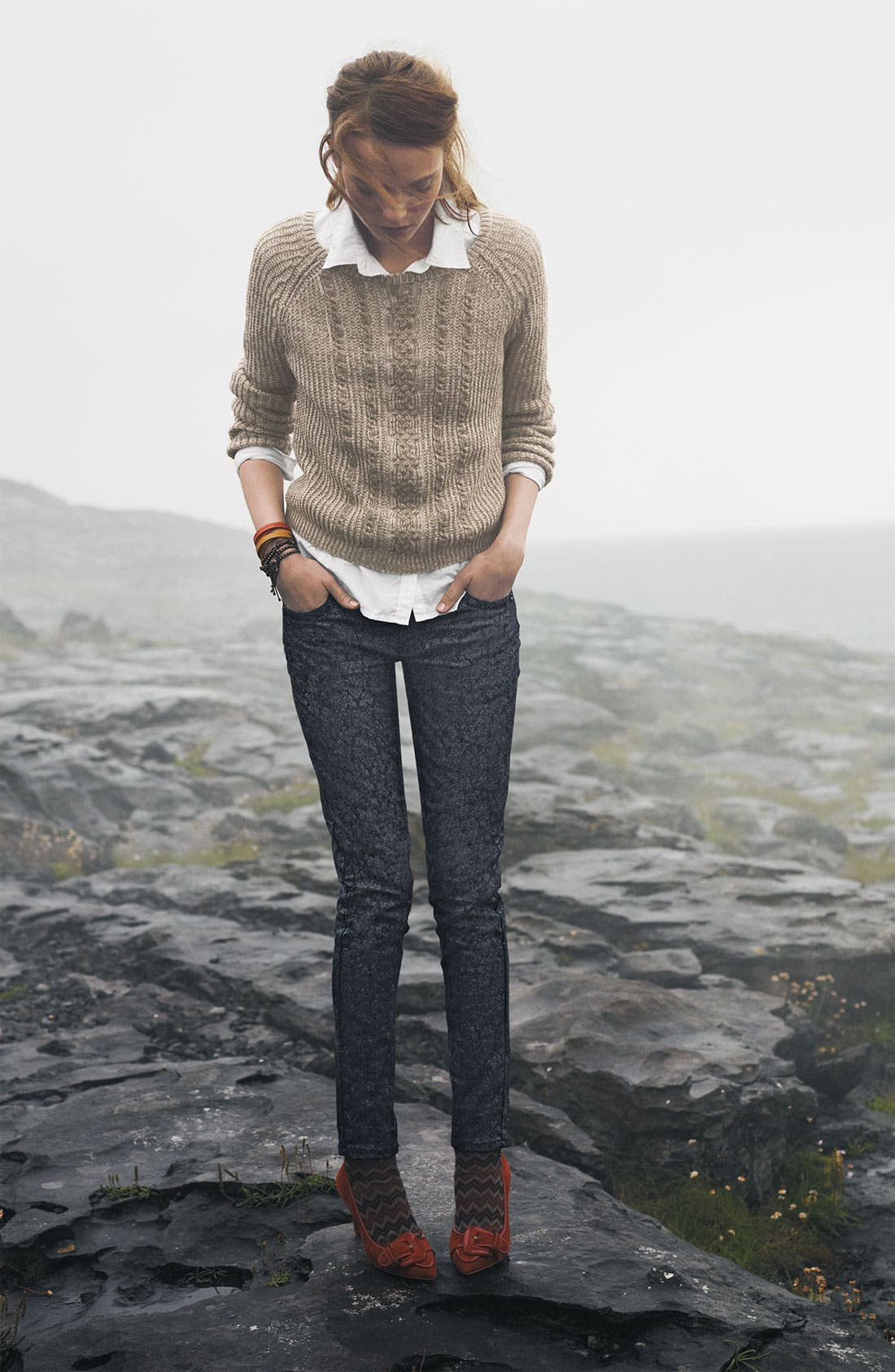 Cable Knit Sweater,                             Alternate thumbnail 4, color,                             001
