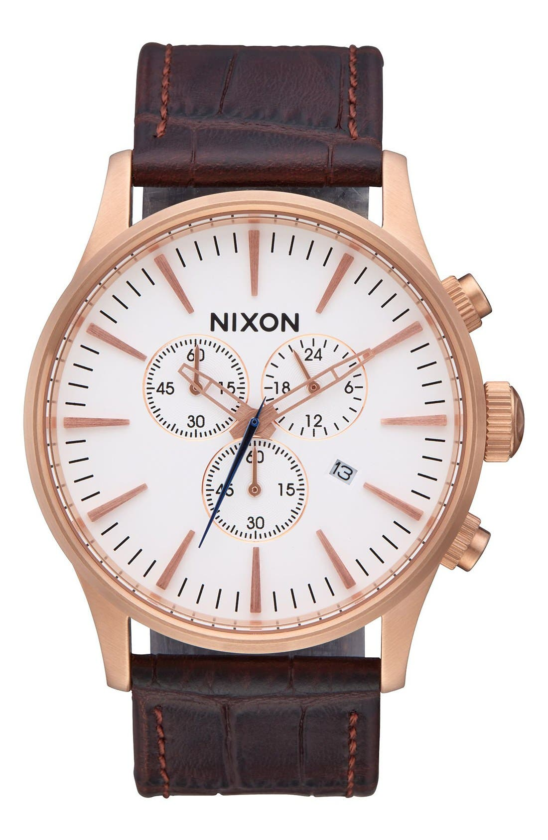 The Sentry Chronograph Leather Strap Watch, 42mm,                         Main,                         color, ROSE GOLD / BROWN GATOR