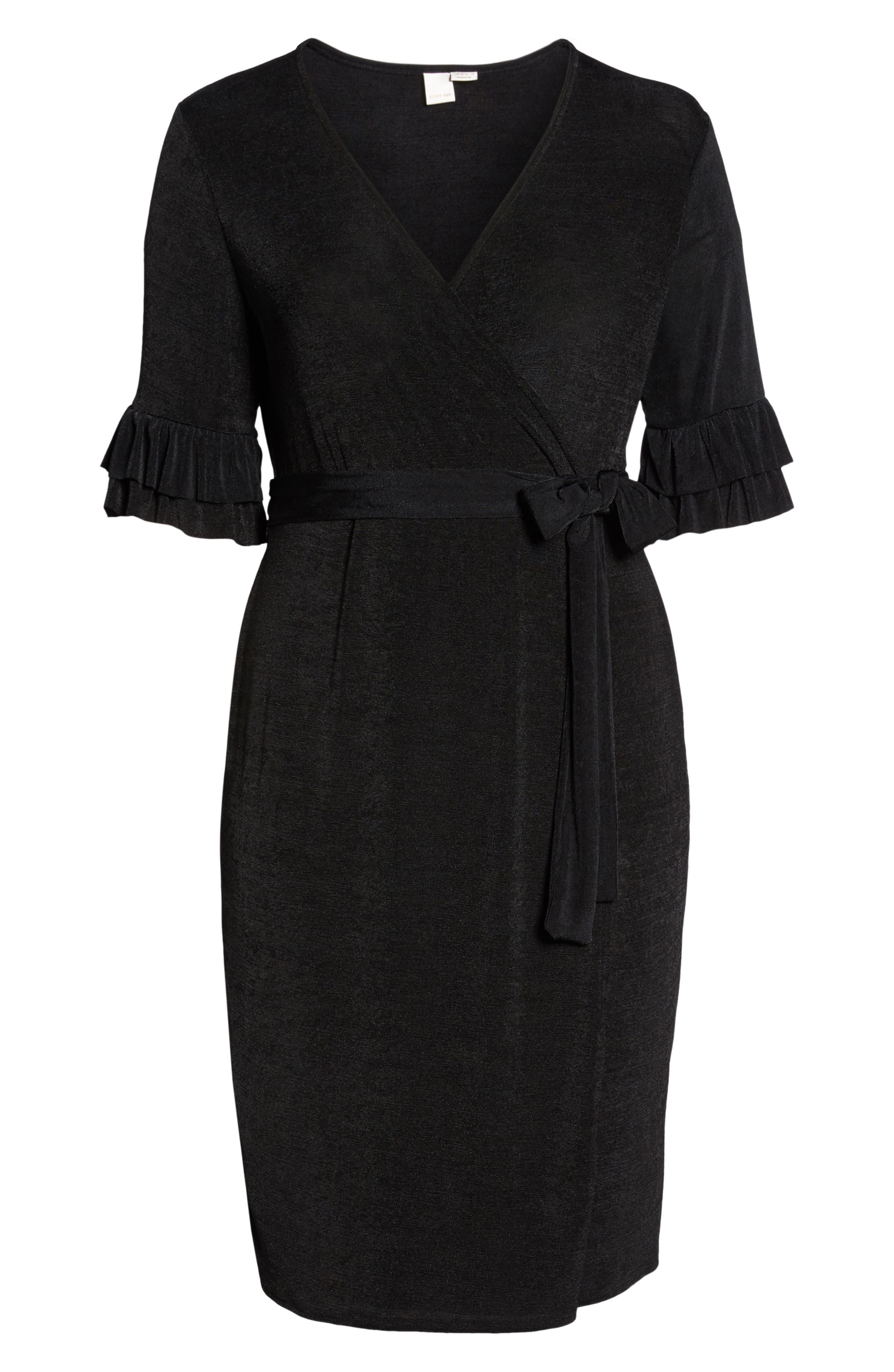 Wrap Dress,                             Alternate thumbnail 7, color,                             BLACK