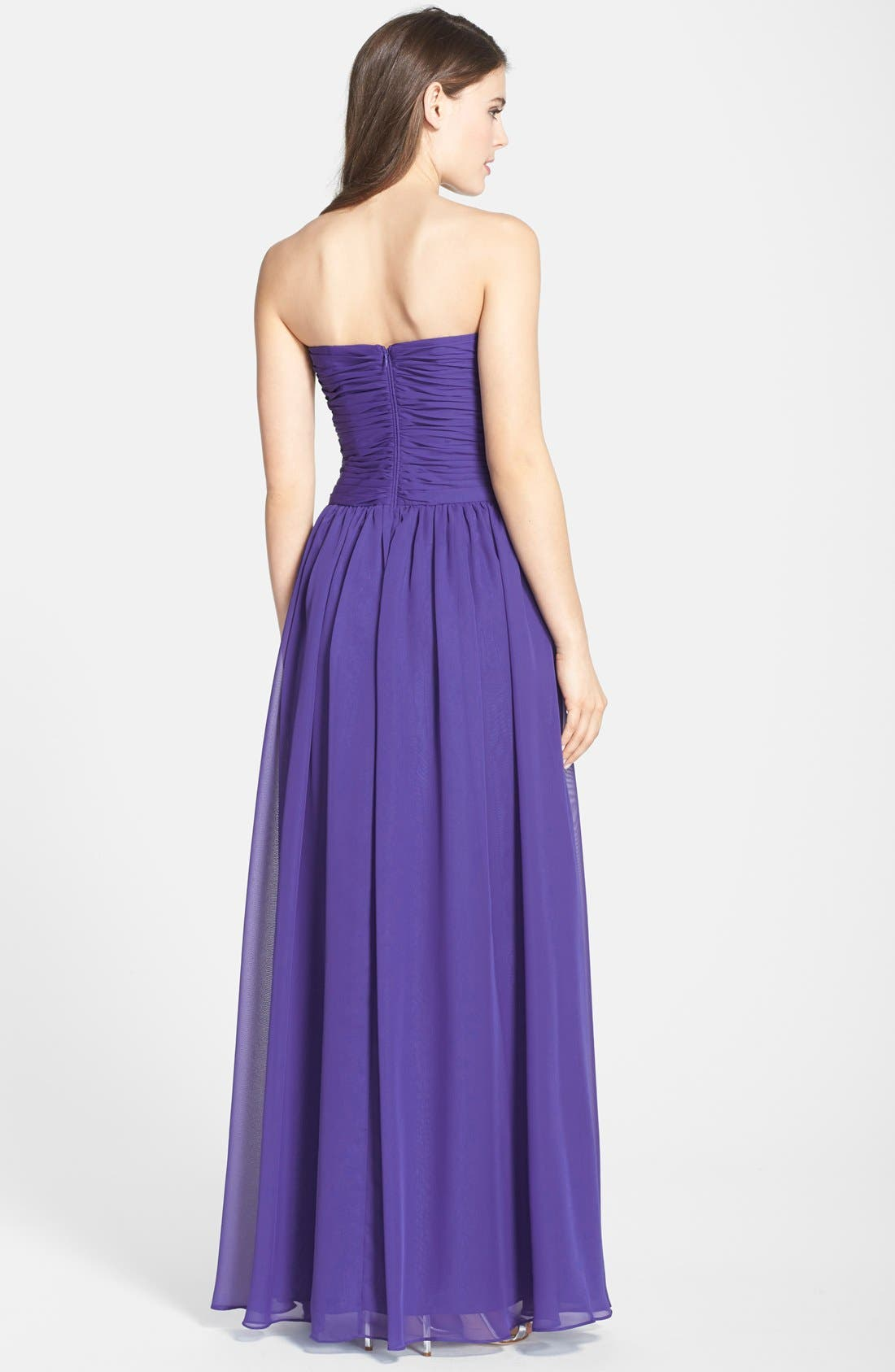 Strapless Ruched Chiffon Gown,                             Alternate thumbnail 14, color,