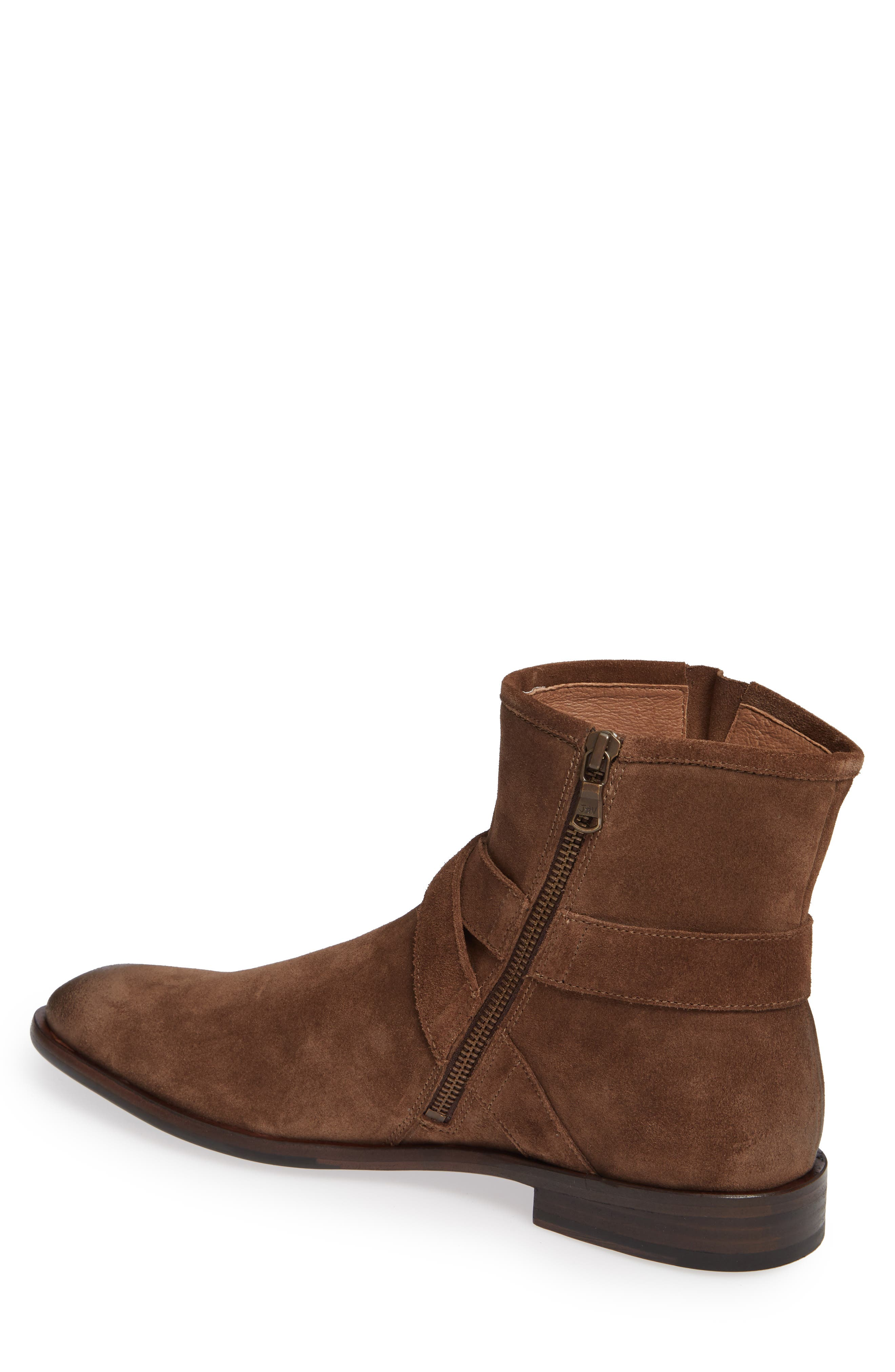 John Varvatos NYC Double Buckle Tall Boot,                             Alternate thumbnail 2, color,                             ANTIQUE BROWN SUEDE