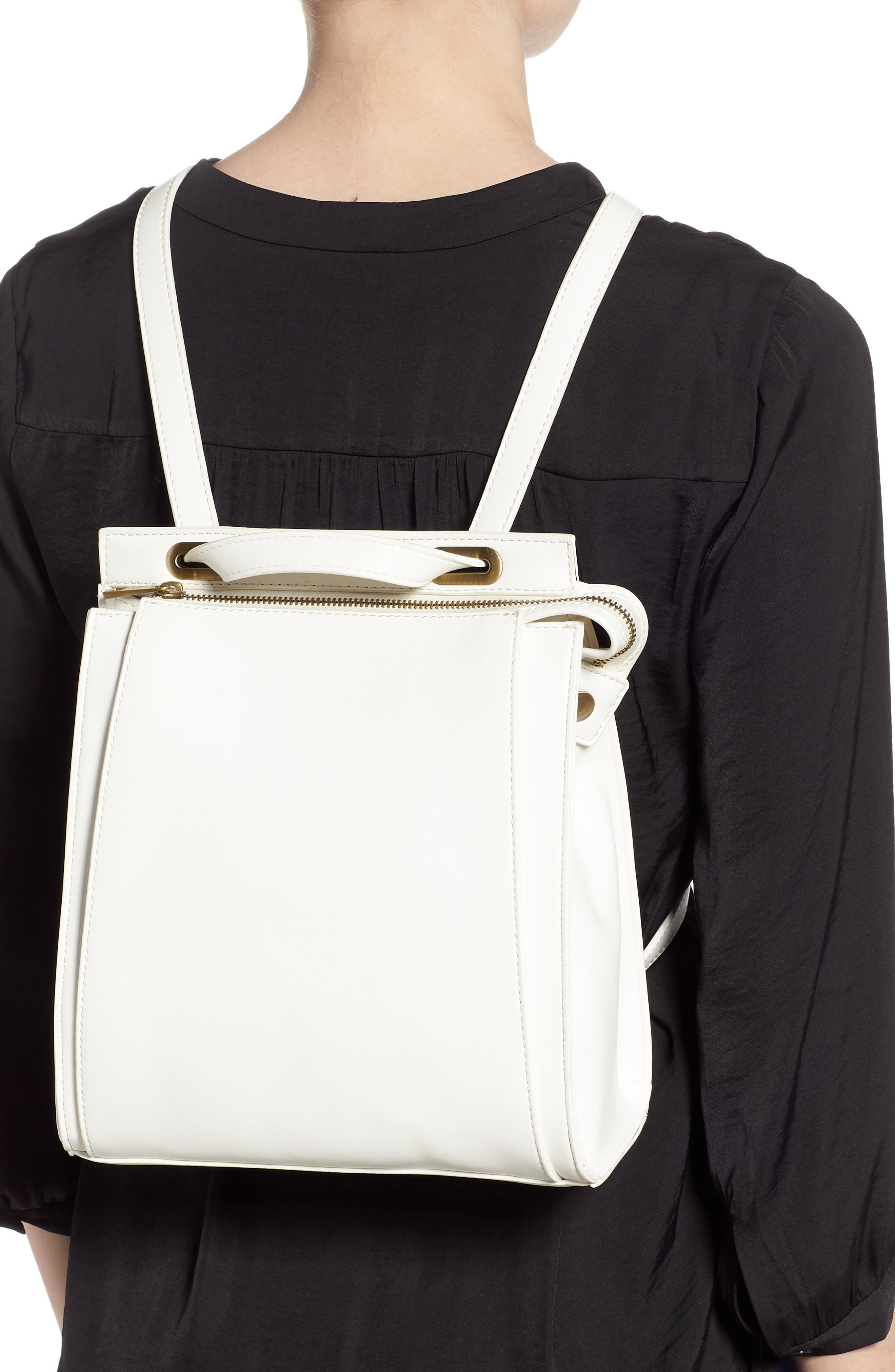Faux Leather Convertible Backpack,                             Alternate thumbnail 2, color,                             OPTIC WHITE