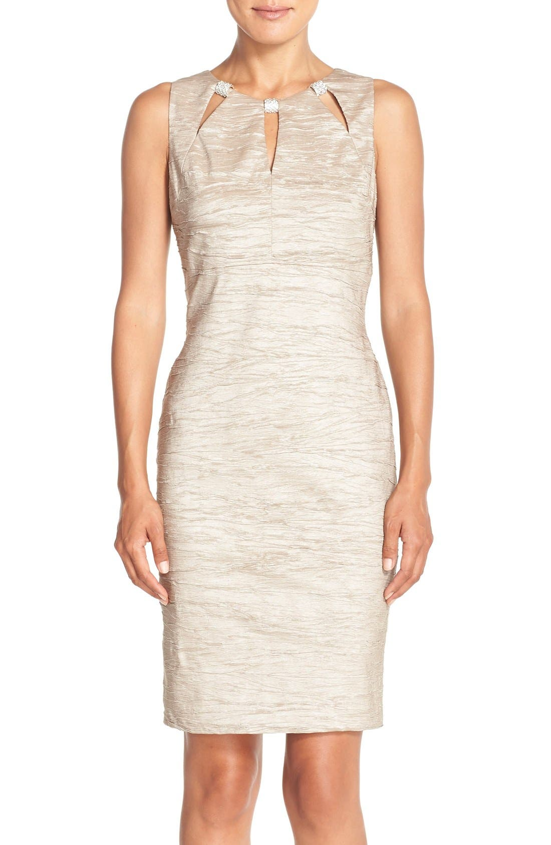 Embellished Cutout Taffeta Sheath Dress,                         Main,                         color, CHAMPAGNE