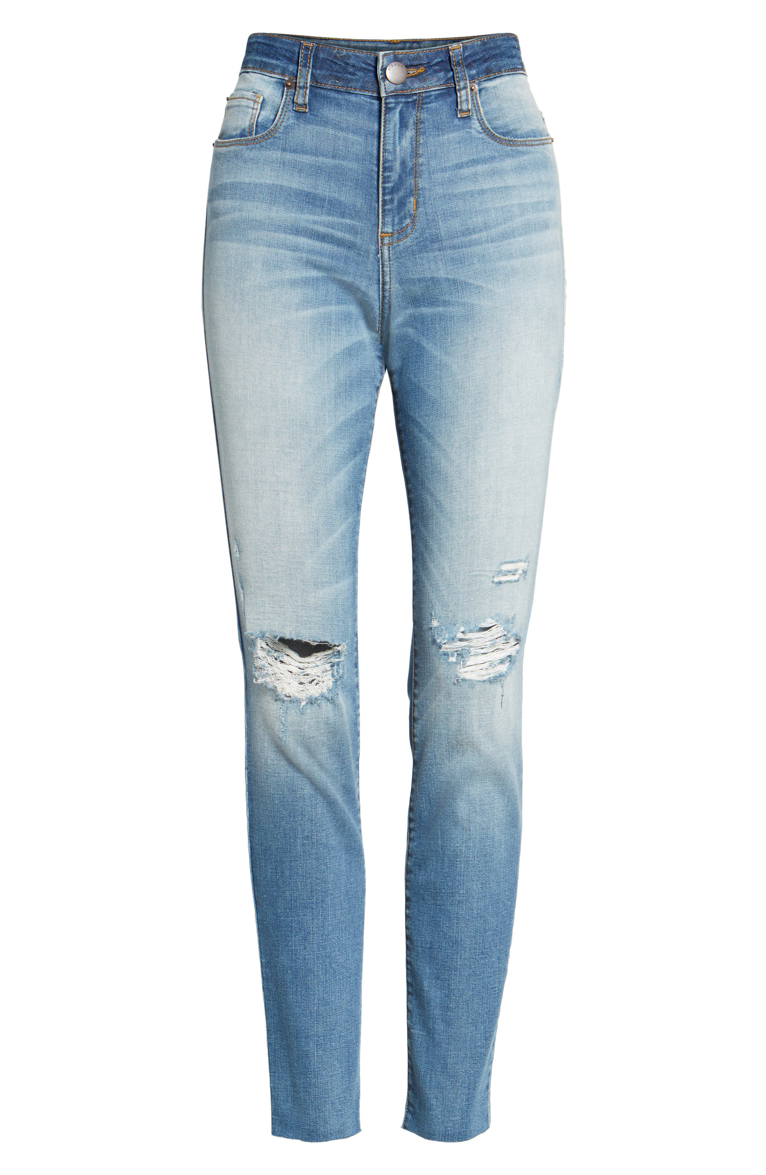 Ellie Ripped High Waist Skinny Jeans,                             Alternate thumbnail 6, color,                             400