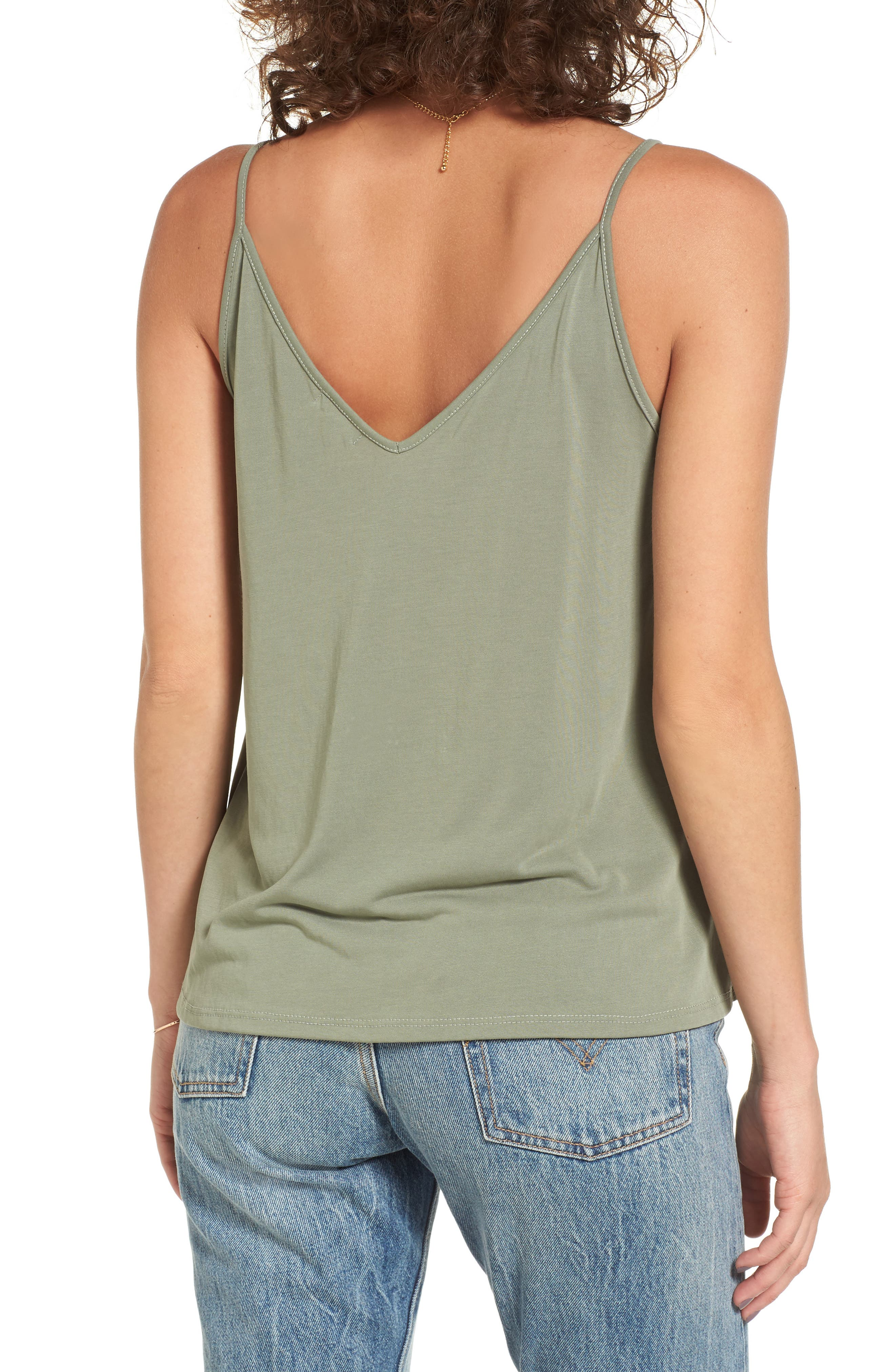 Double V Swing Camisole,                             Alternate thumbnail 3, color,                             OLIVE BURNT