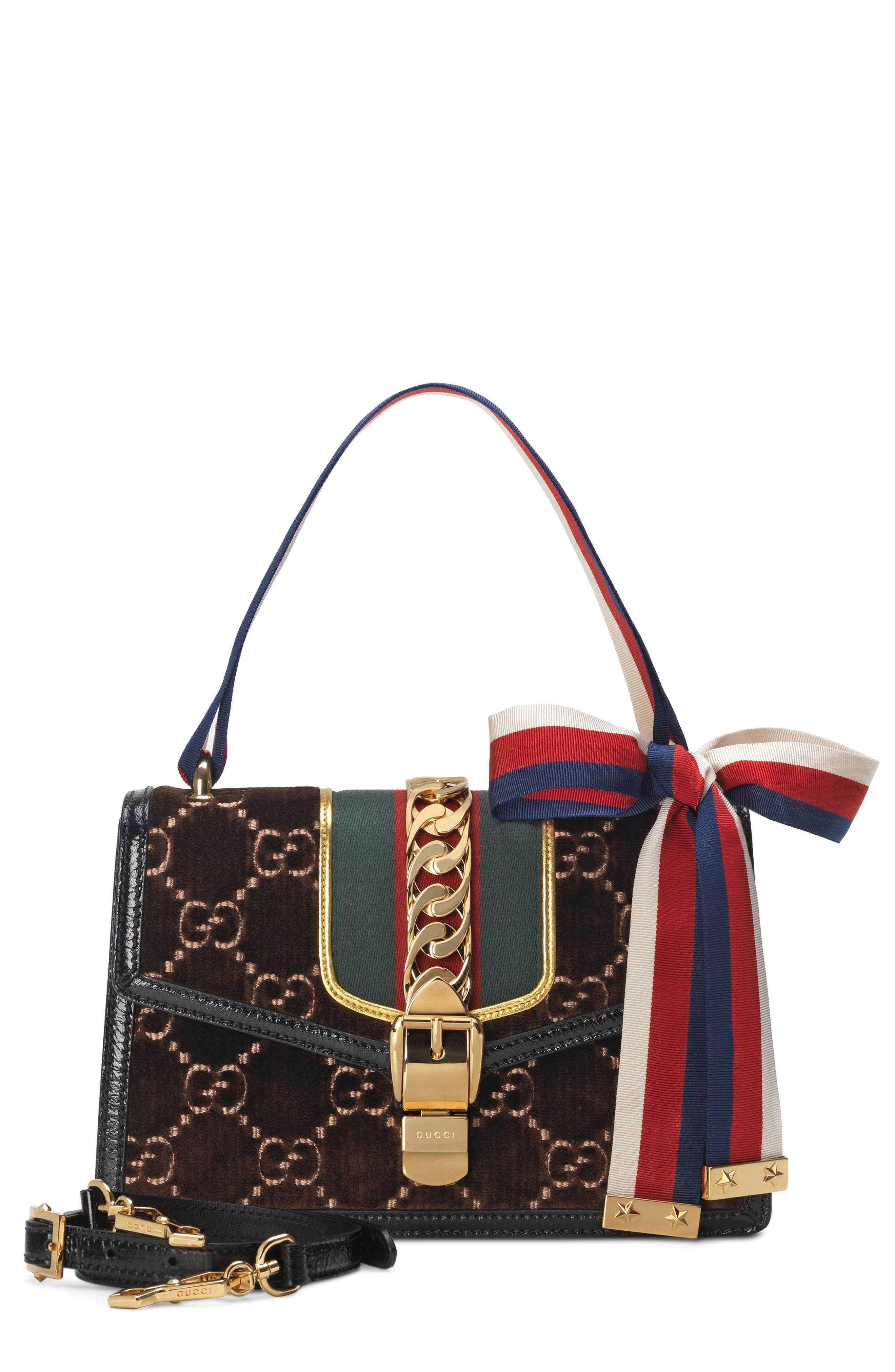 Small Sylvie Velvet Shoulder Bag,                         Main,                         color, BROWN/ NERO/ VERT RED