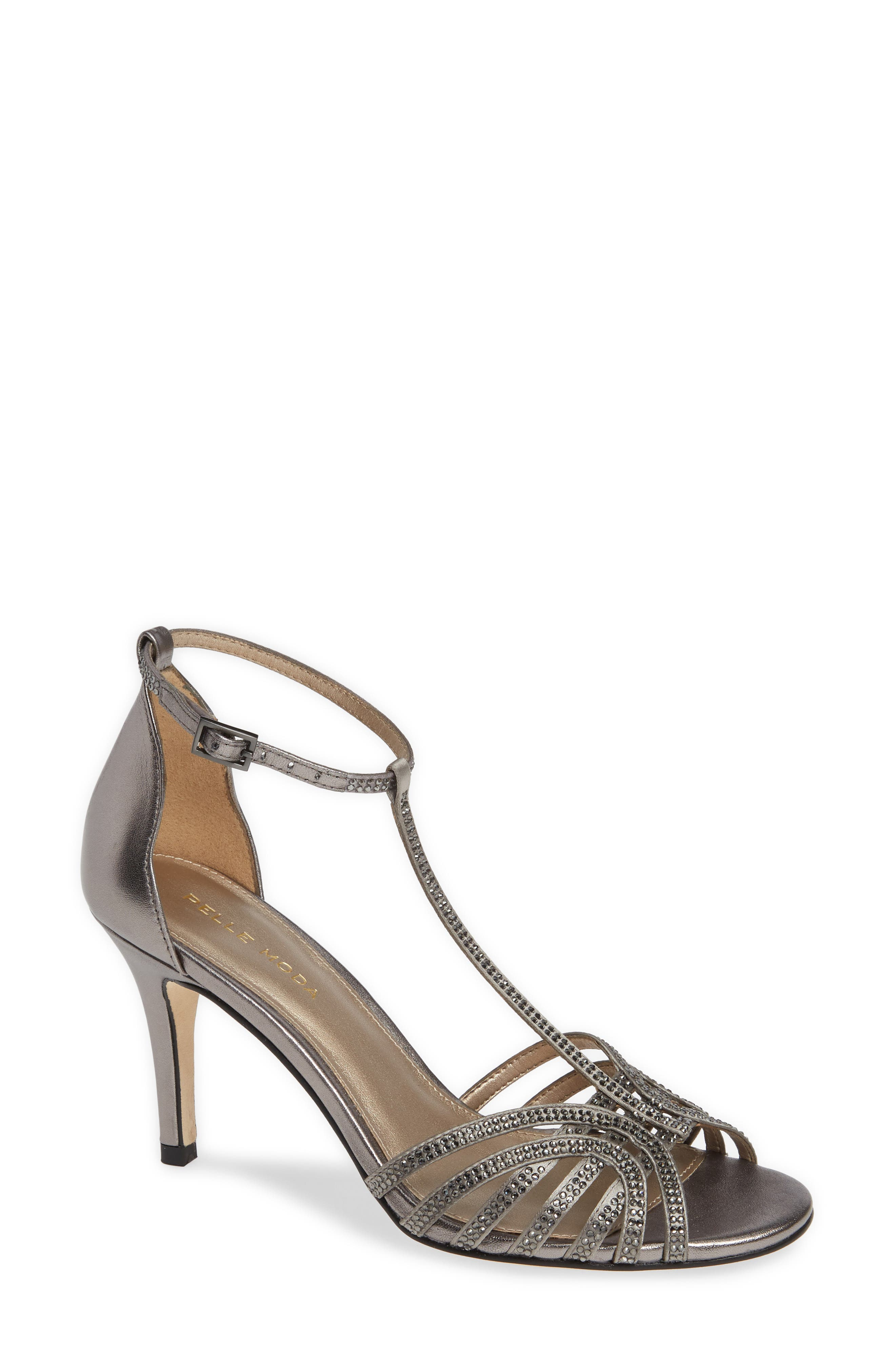 Rochell Crystal Embellished Sandal,                             Main thumbnail 1, color,                             PEWTER FABRIC