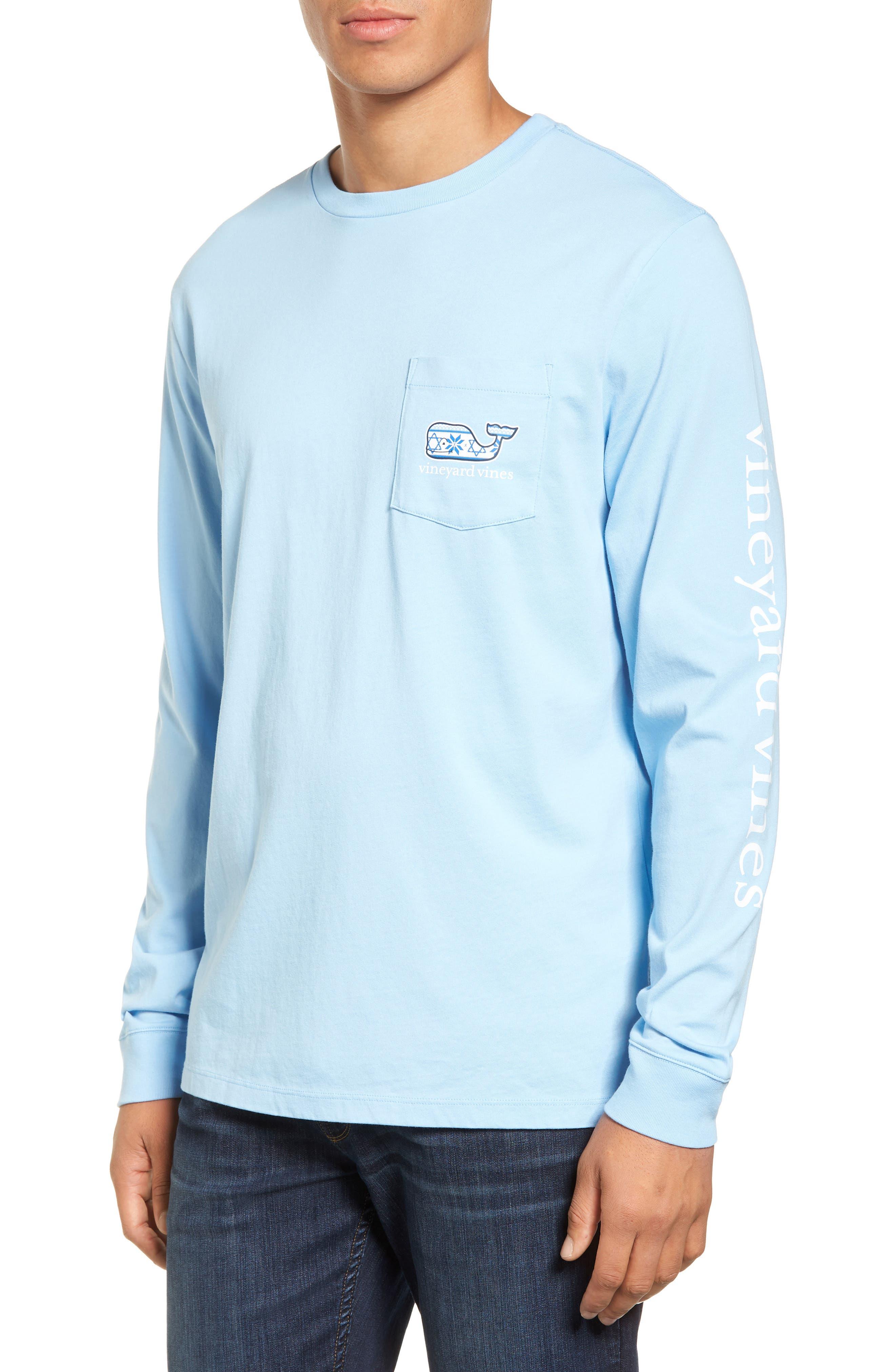 Hanukkah Fair Isle Whale Fill Pocket T-Shirt,                         Main,                         color, 456