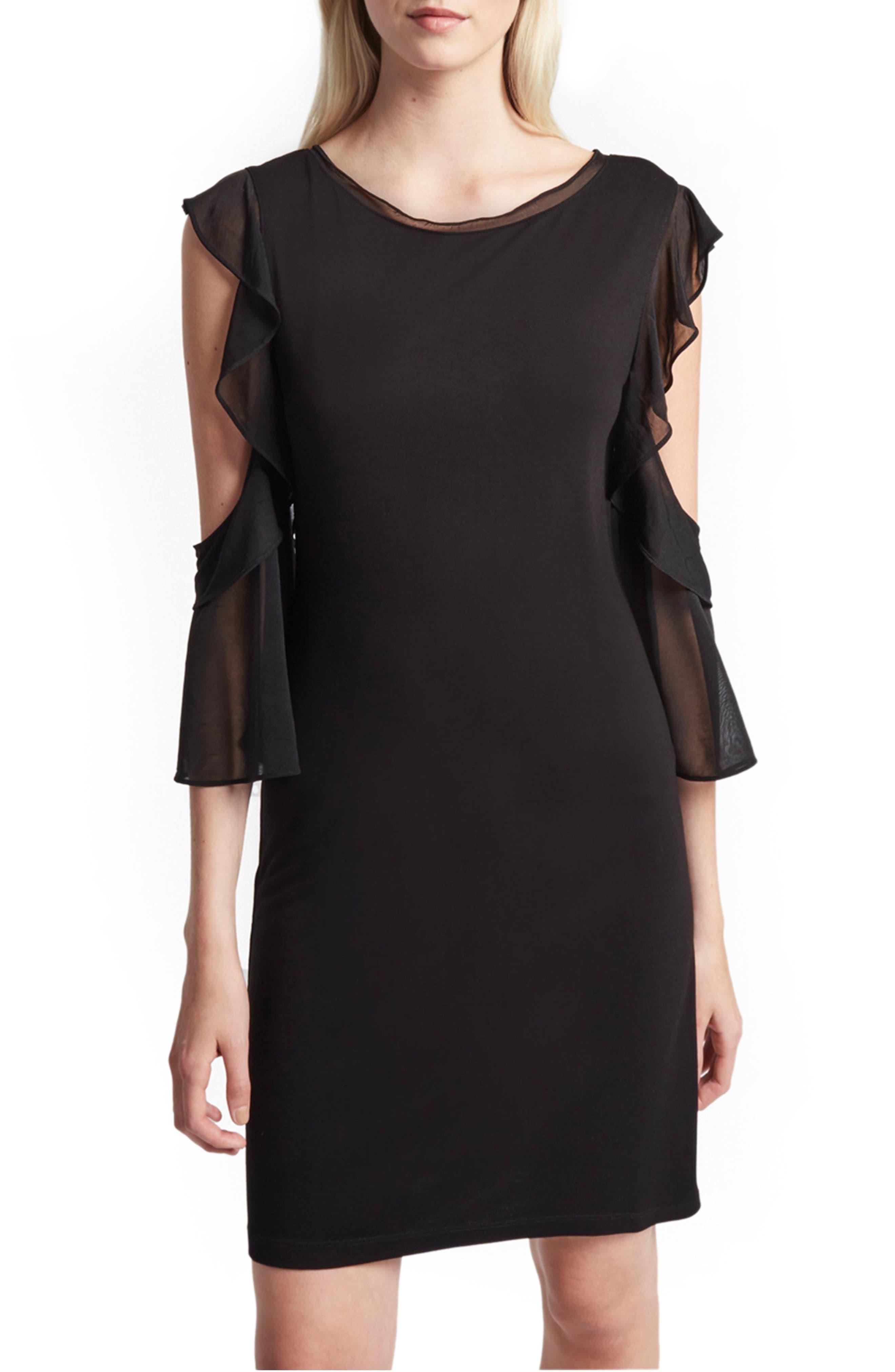 Ruffle Mix Jersey Dress,                         Main,                         color, 001
