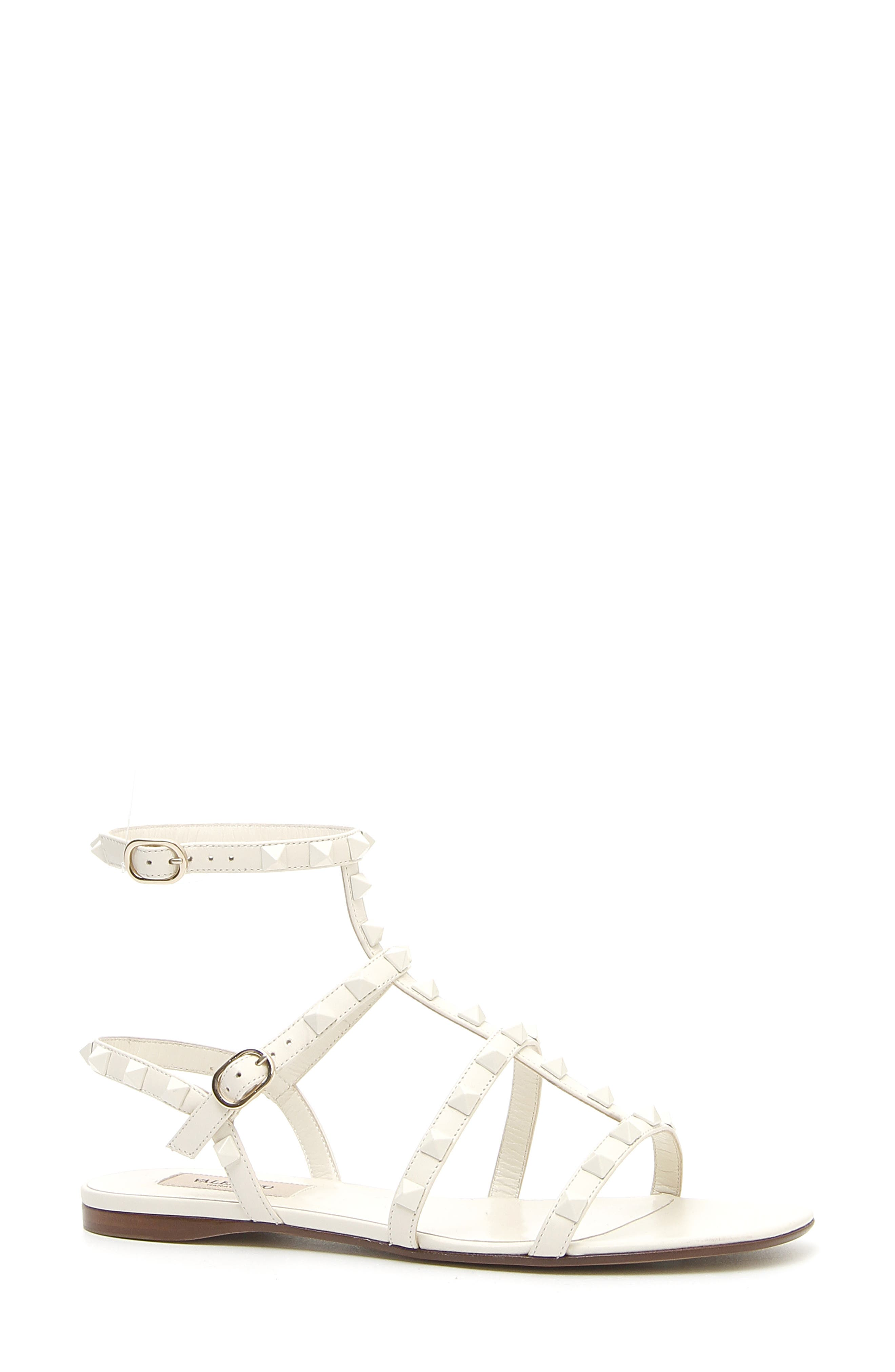 Rockstud Flat Strappy Leather Sandals (Tonal Hardware) in Ivory/ Ivory