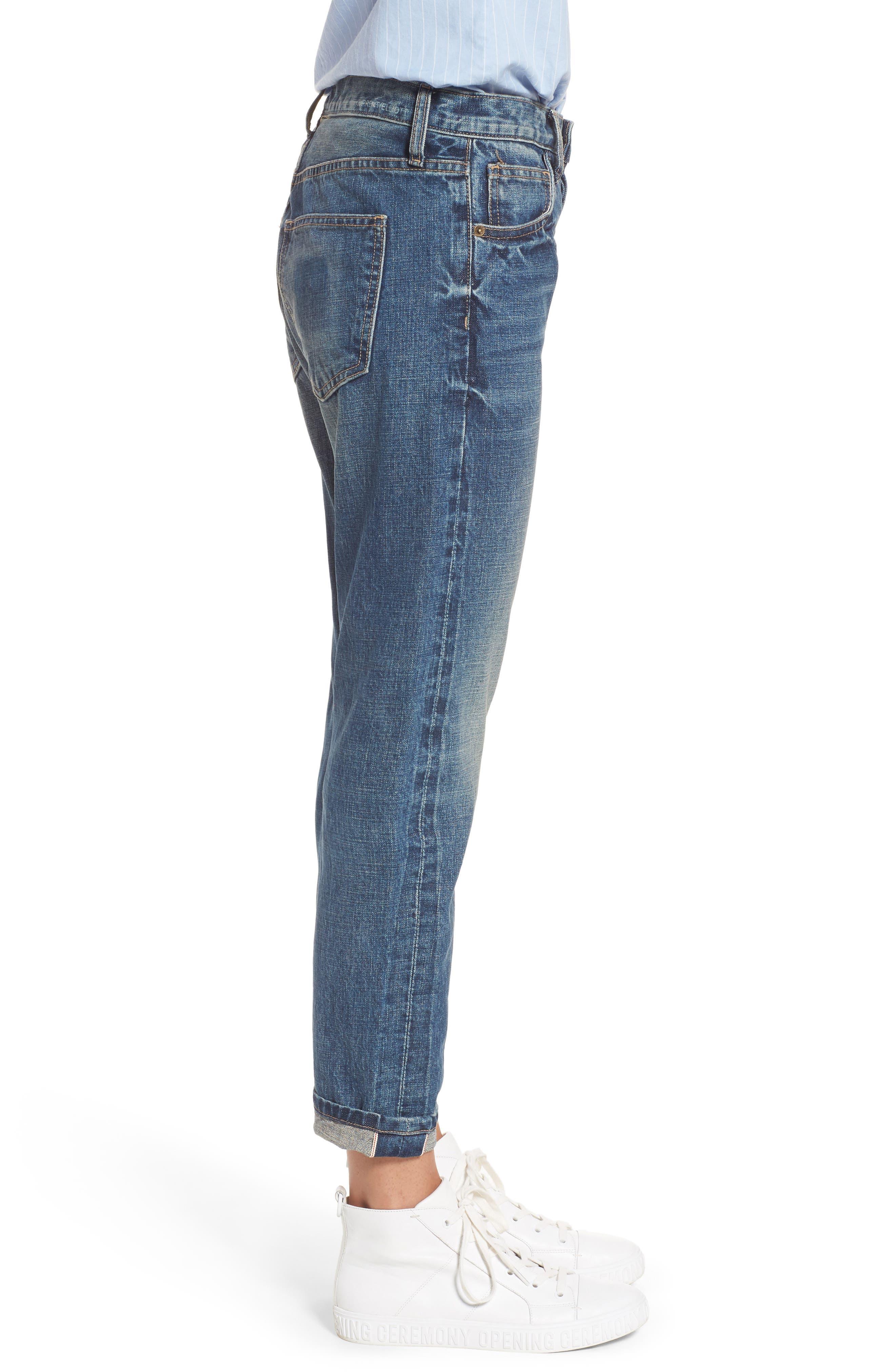 The Selvedge High Waist Crop Jeans,                             Alternate thumbnail 3, color,                             404