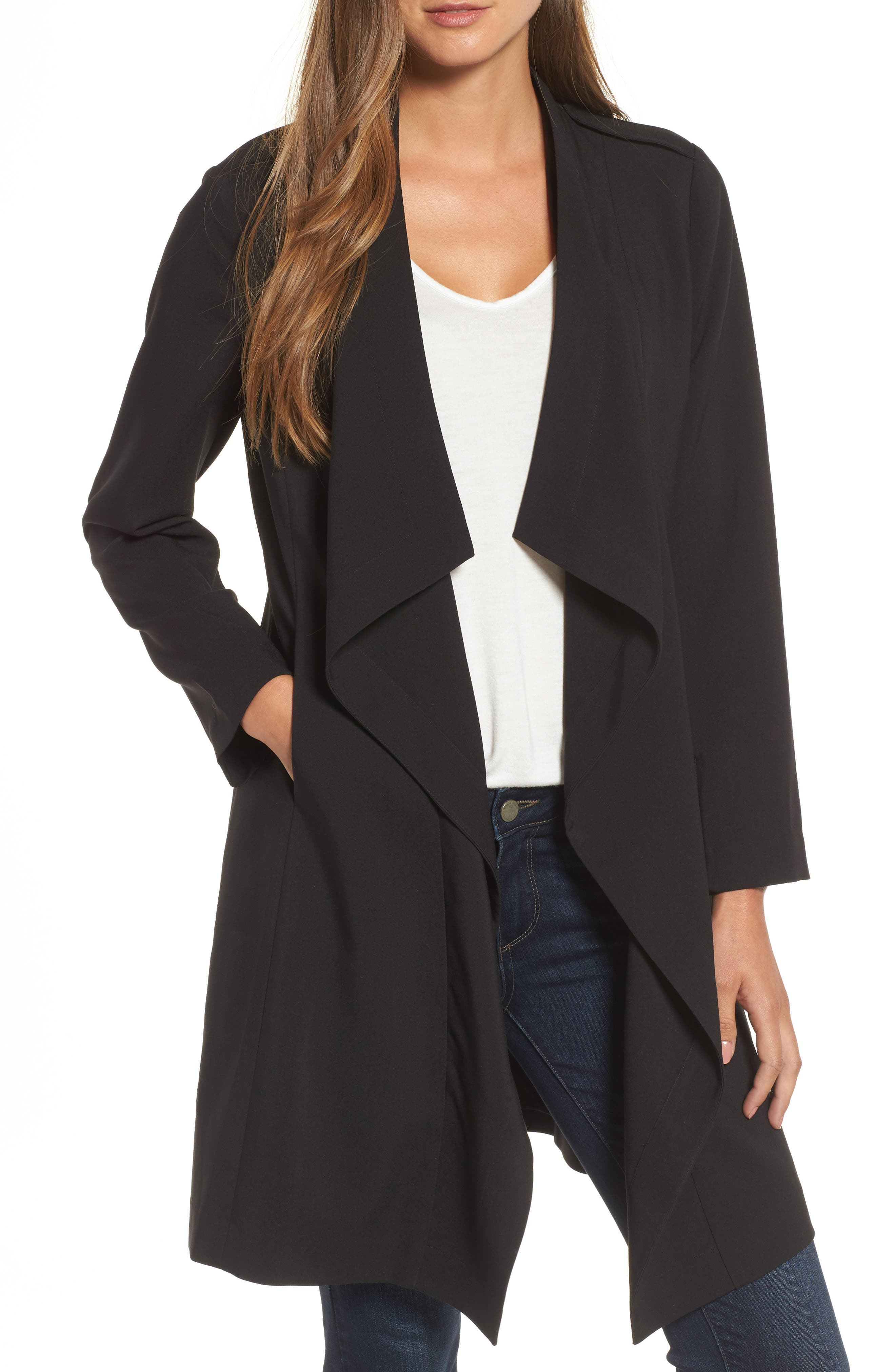 Drape Jacket,                         Main,                         color, BLACK
