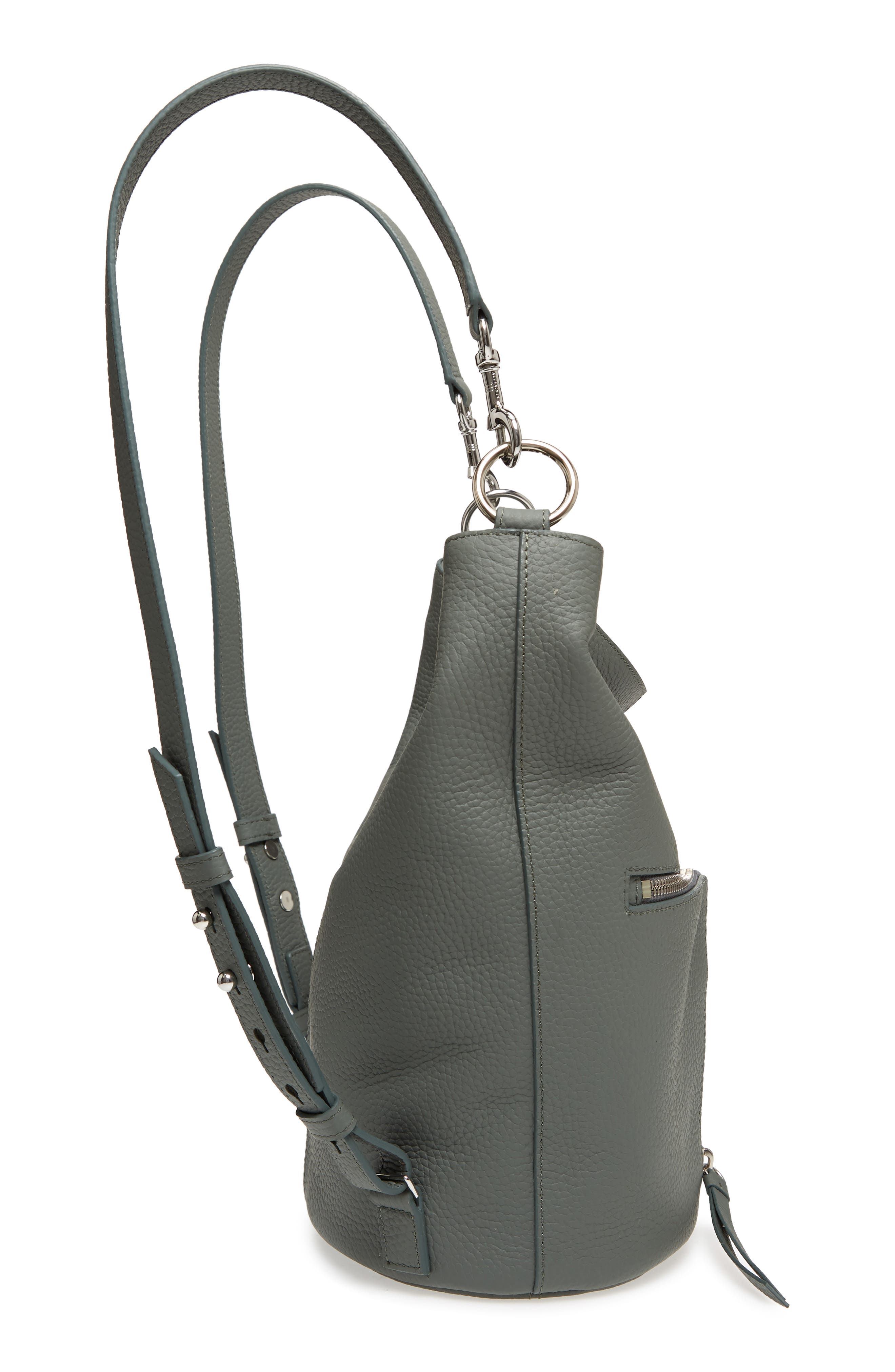 Small Fetch Leather Backpack,                             Alternate thumbnail 6, color,                             LIGHT SLATE BLUE