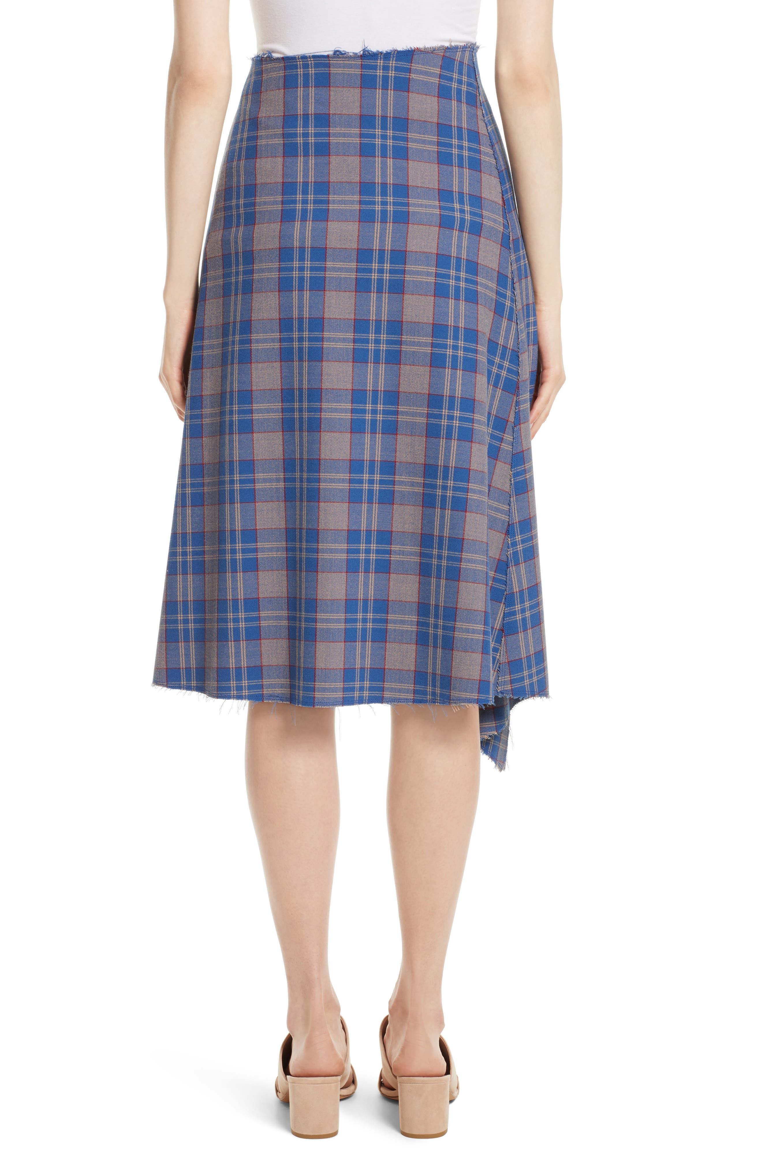 Asymmetric Plaid Midi Skirt,                             Alternate thumbnail 2, color,